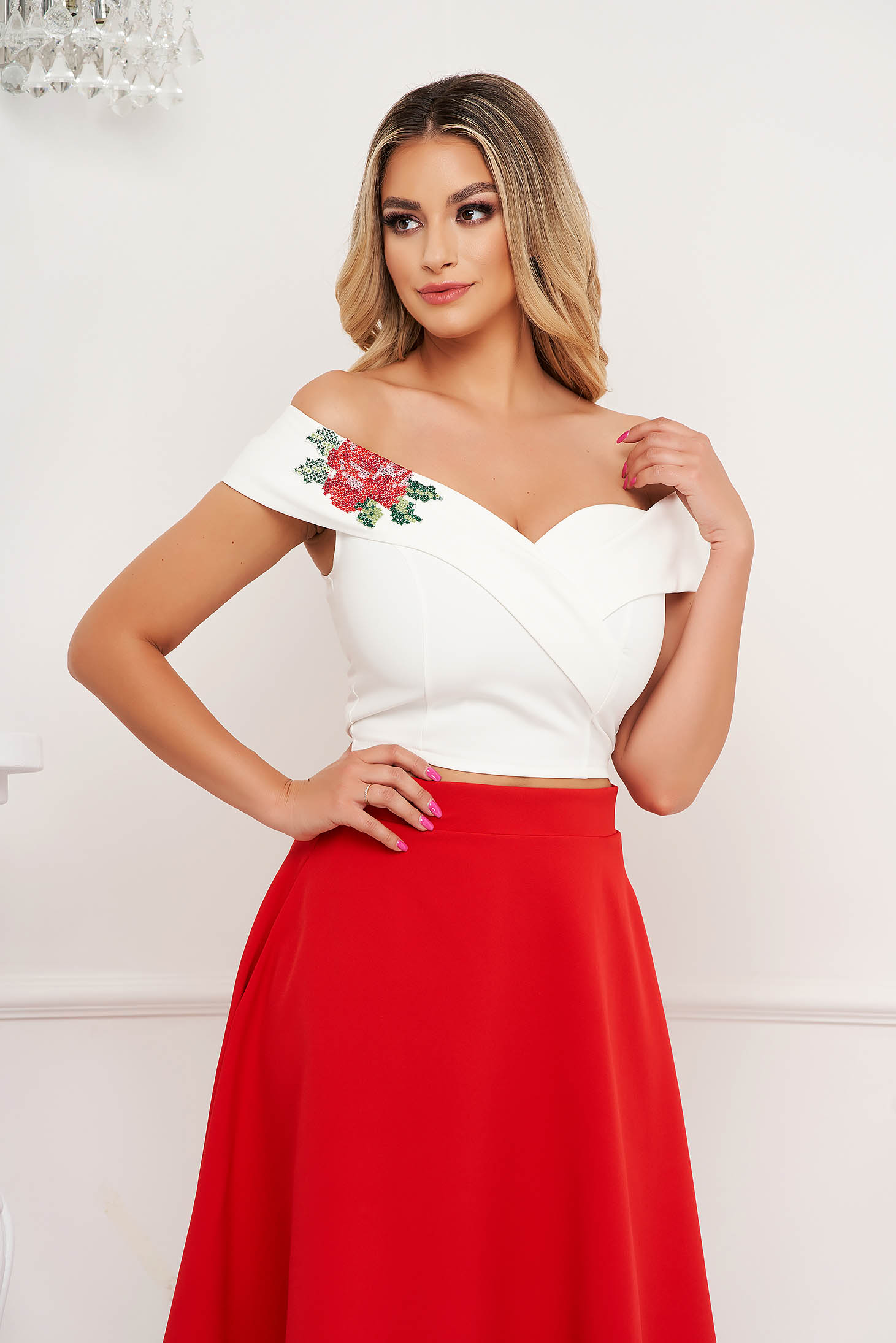 StarShinerS white top shirt elegant short cut cloth with tented cut