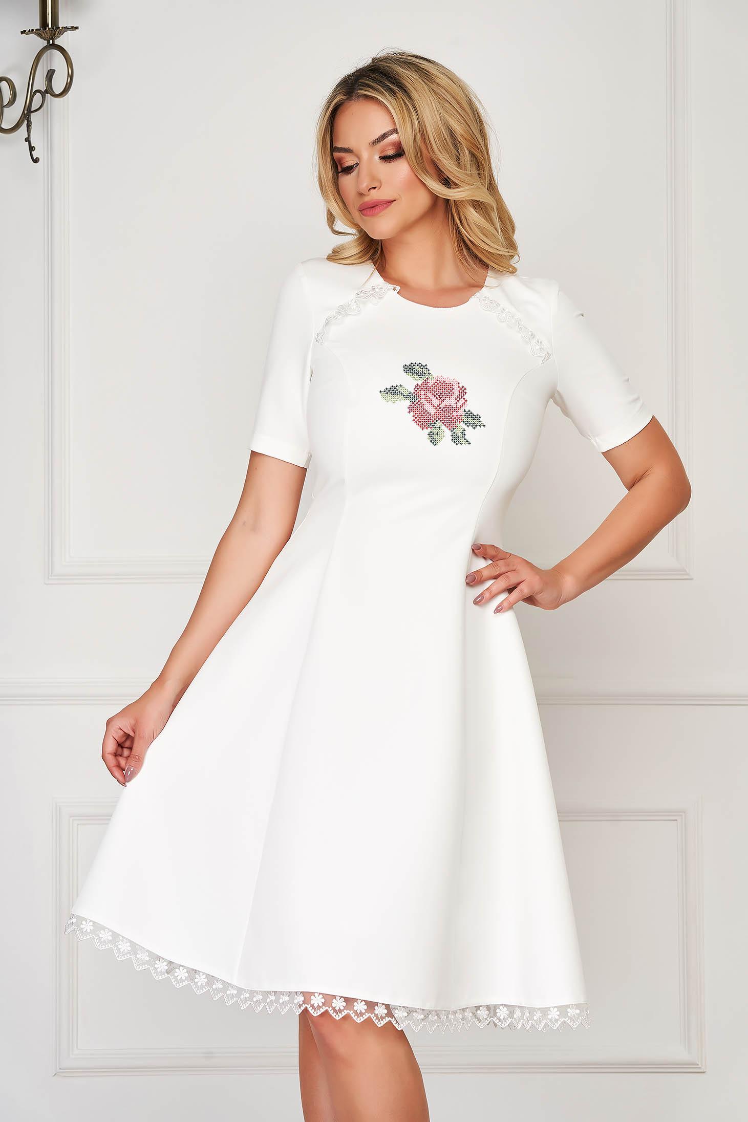StarShinerS white dress elegant midi cloche cloth