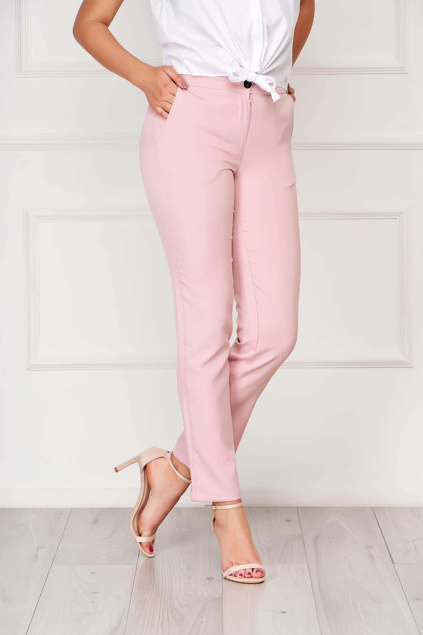 Pink irodai zsebes nadrág szövetből egyenes