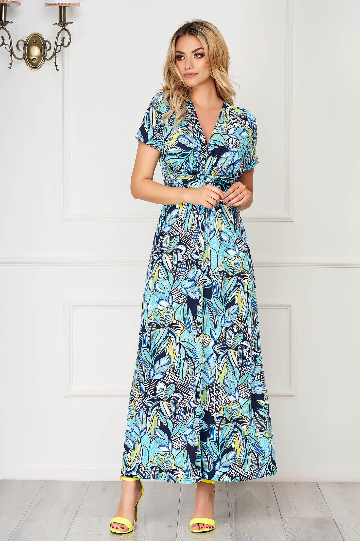 StarShinerS aqua dress long daily thin fabric with v-neckline
