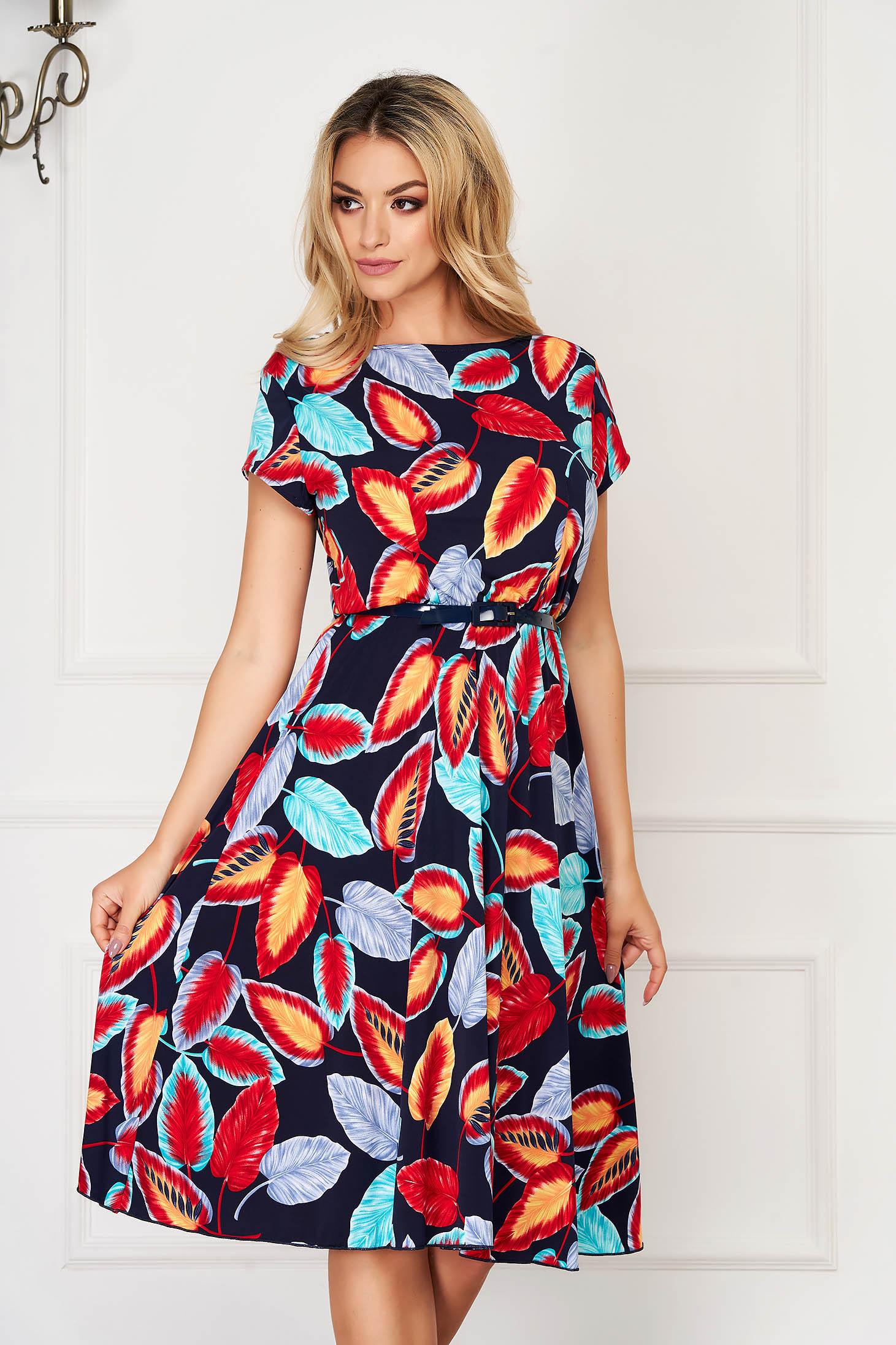 Rochie albastru-inchis midi de zi in clos din material elastic