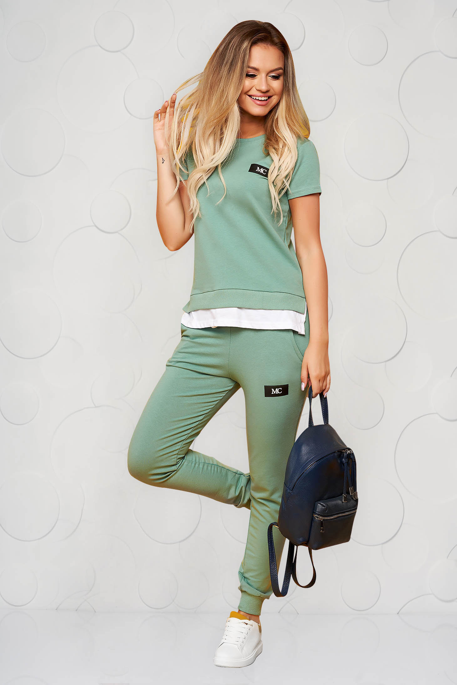 Green sport 2 pieces casual cotton from two pieces with trousers