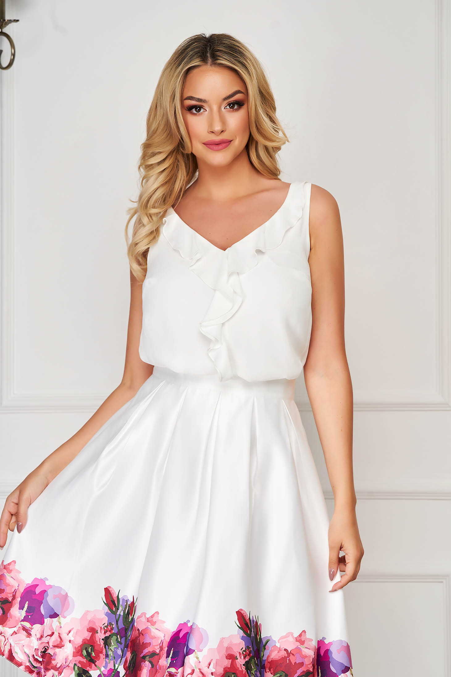 White top shirt elegant flared from veil fabric with v-neckline