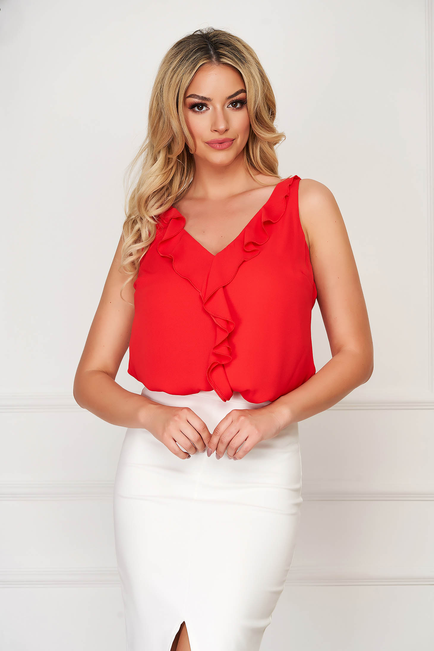 Red top shirt elegant flared from veil fabric with v-neckline
