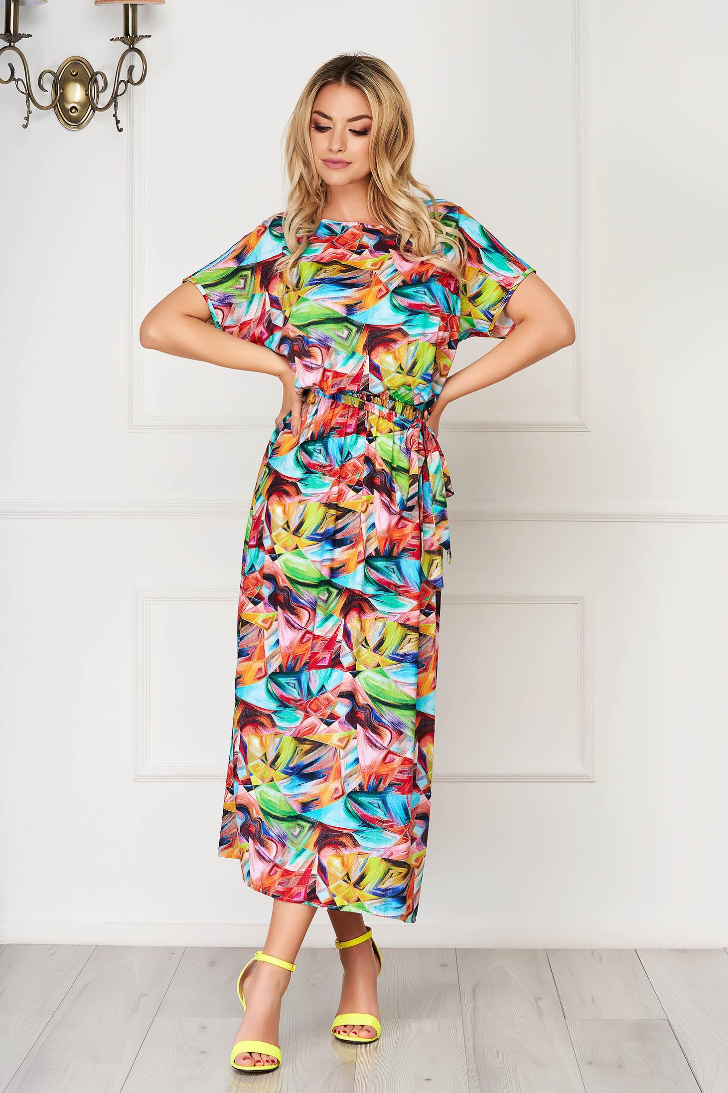 StarShinerS orange dress midi daily thin fabric with floral print