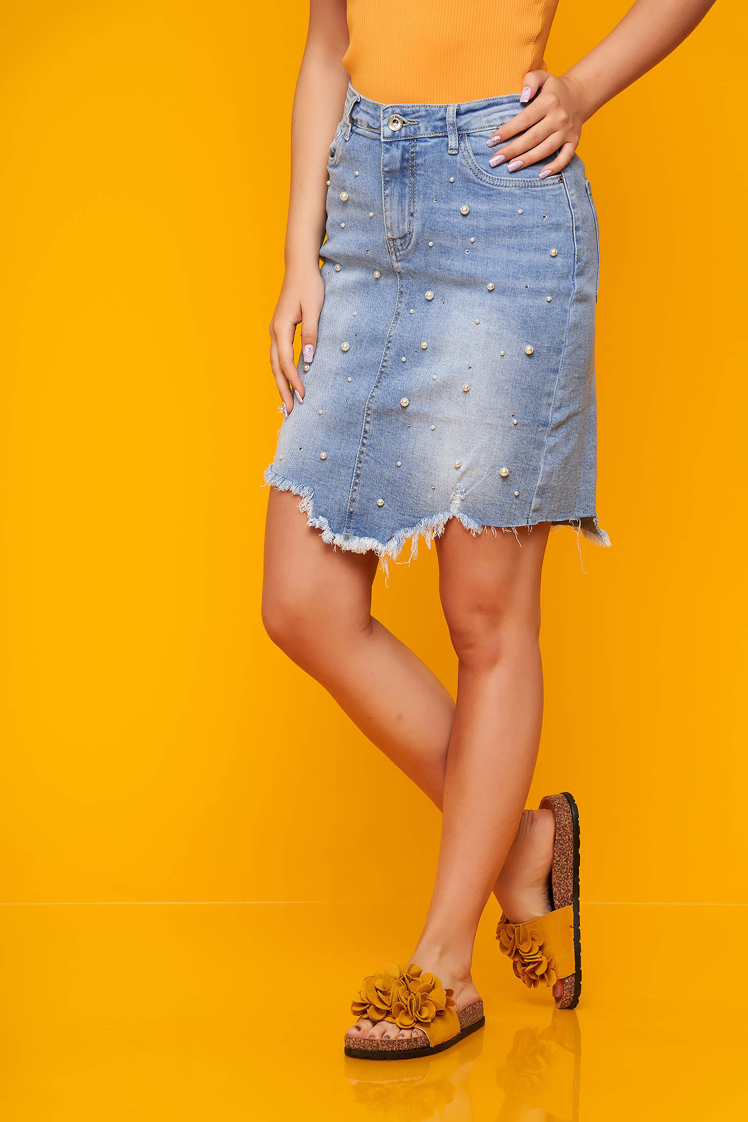 Blue skirt casual short cut denim with small beads embellished details
