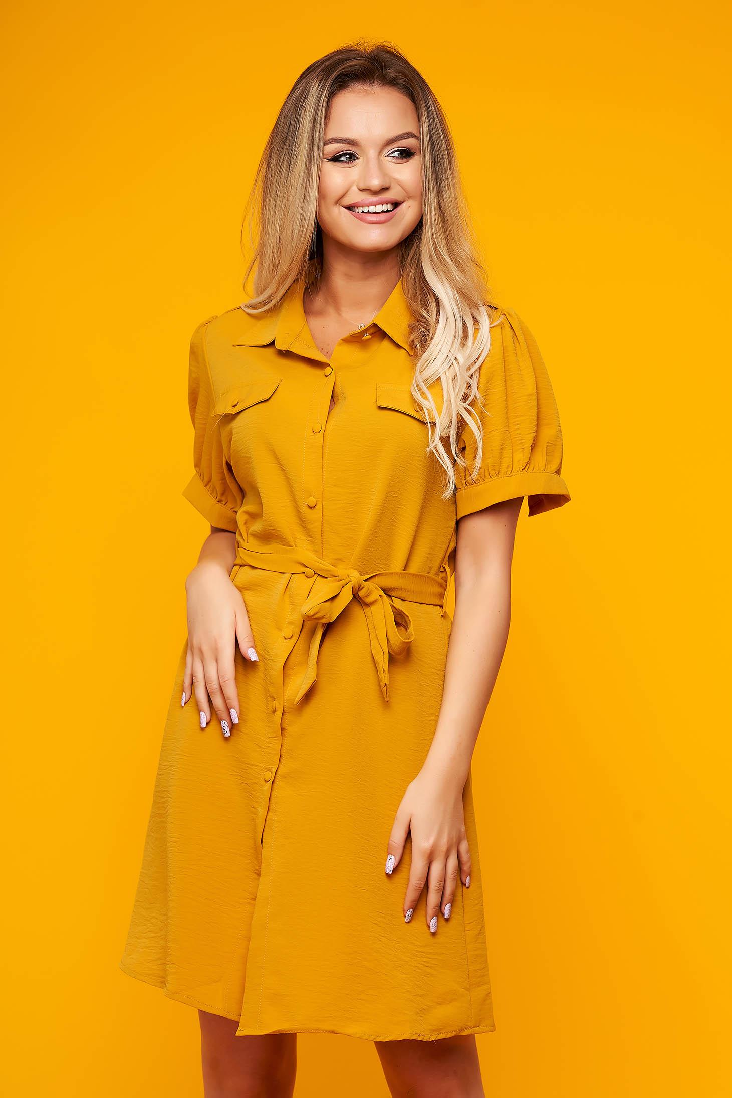 Mustard dress daily short cut flared short sleeves thin fabric