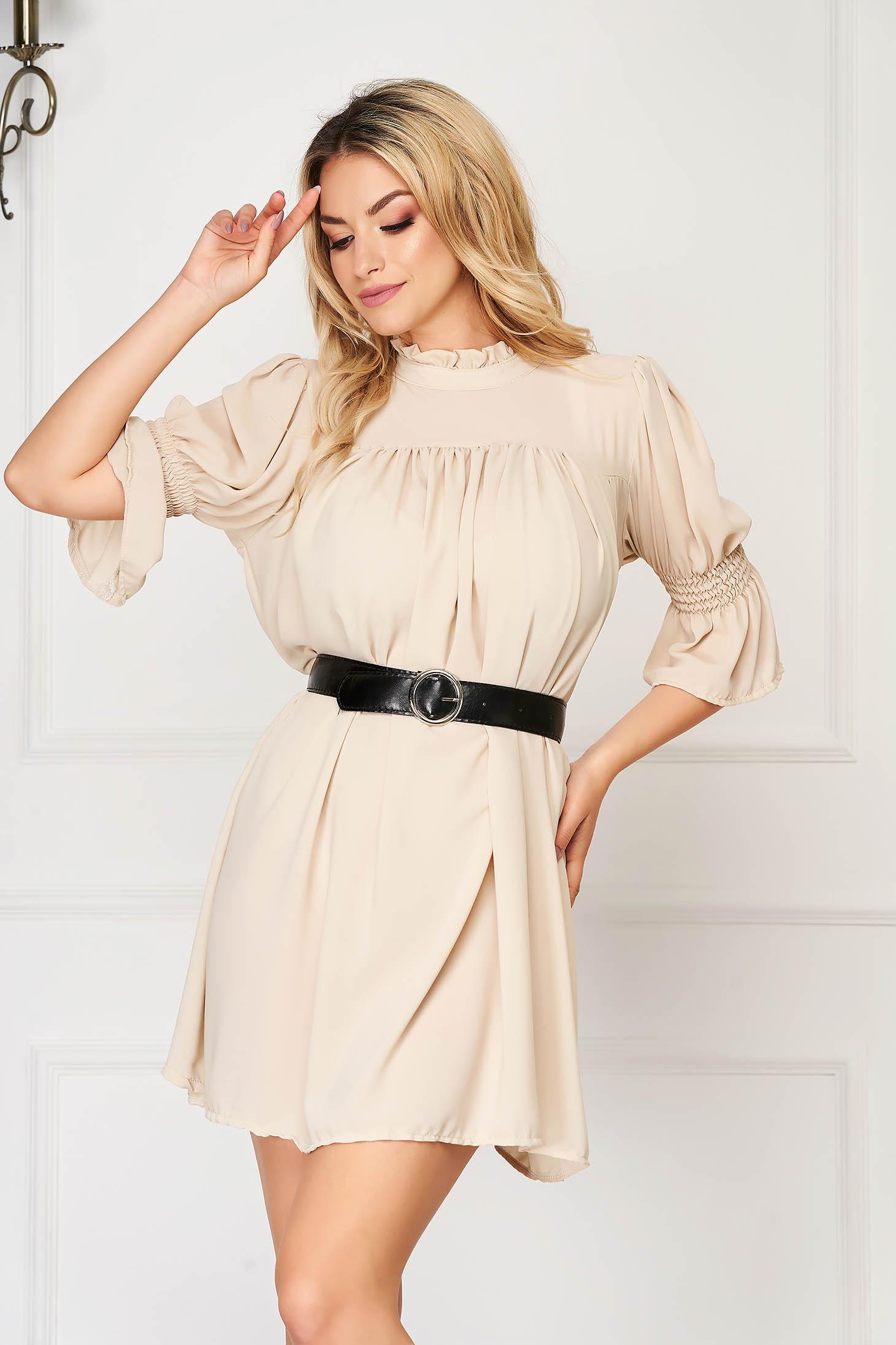 Cream dress short cut daily flared from veil fabric ruffled collar