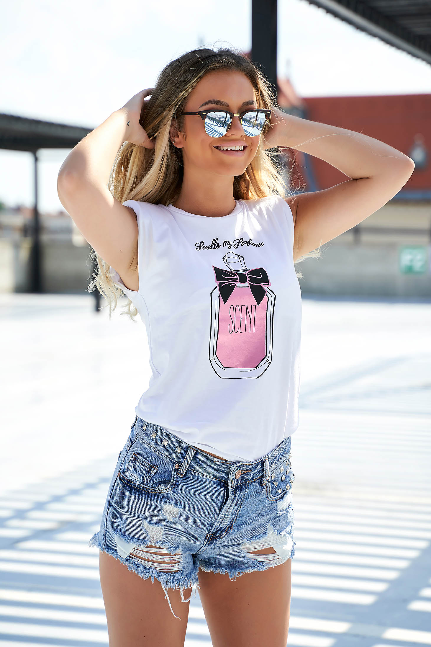 Pink t-shirt casual flared cotton with padded shoulders