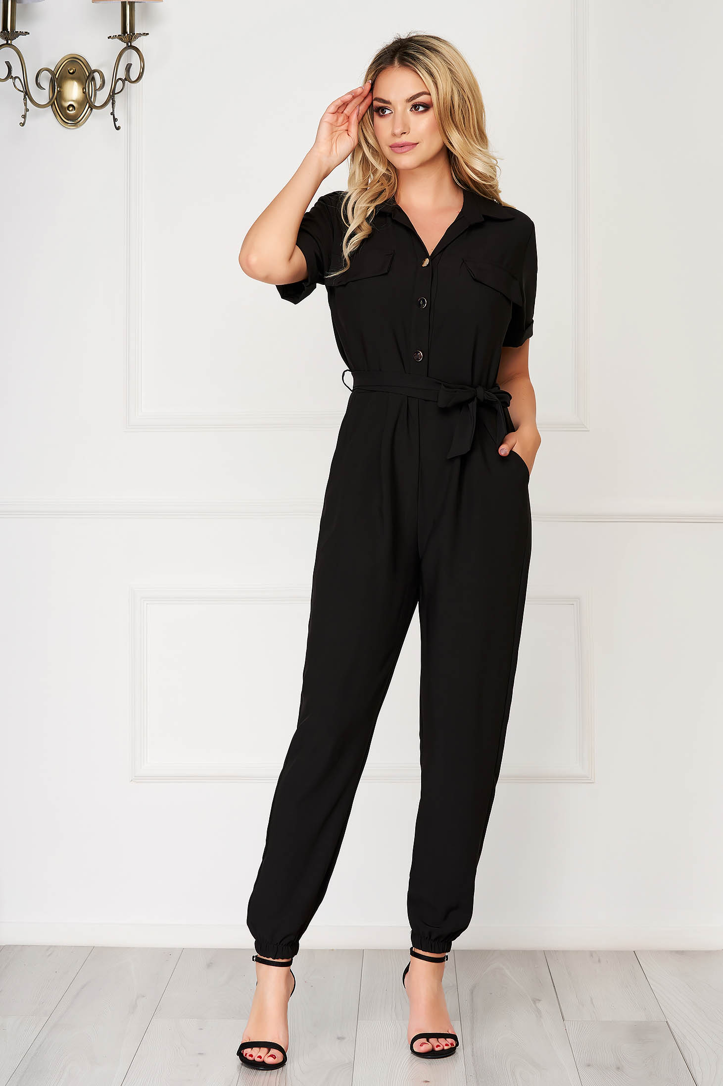 Black jumpsuit casual long short sleeves thin fabric