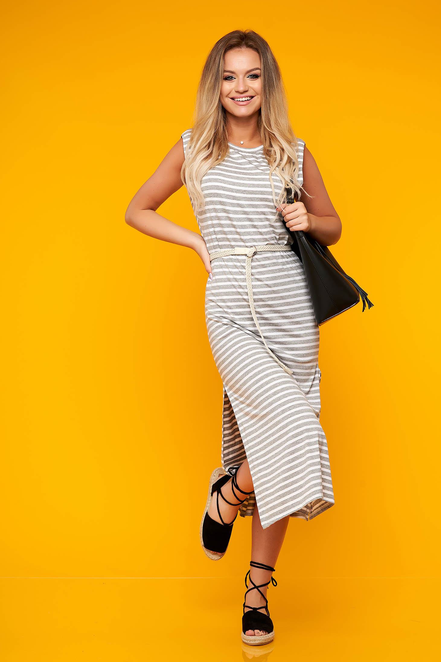 Grey dress casual midi sleeveless with padded shoulders