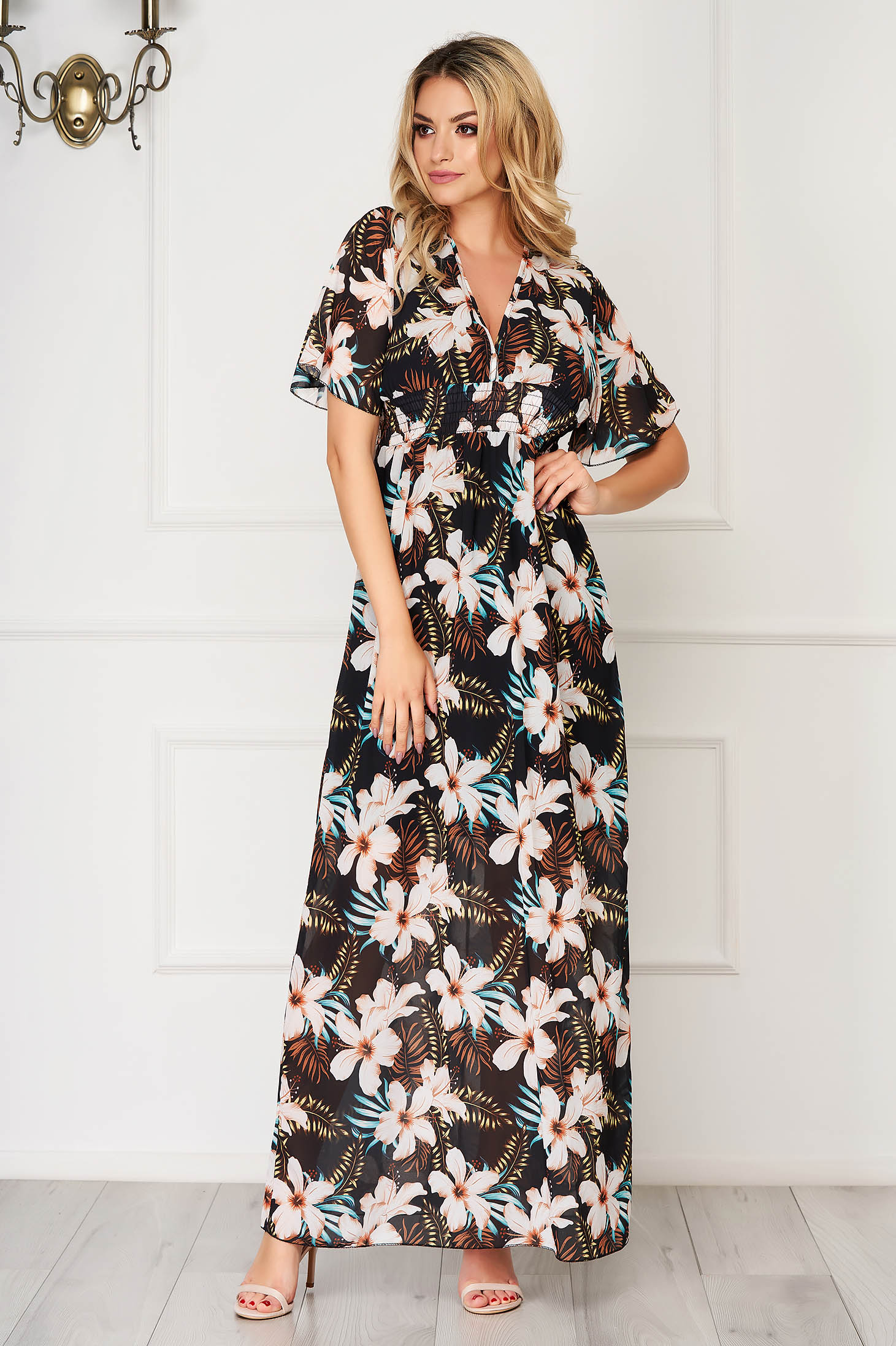 Black dress daily from veil fabric with butterfly sleeves cloche maxi dresses