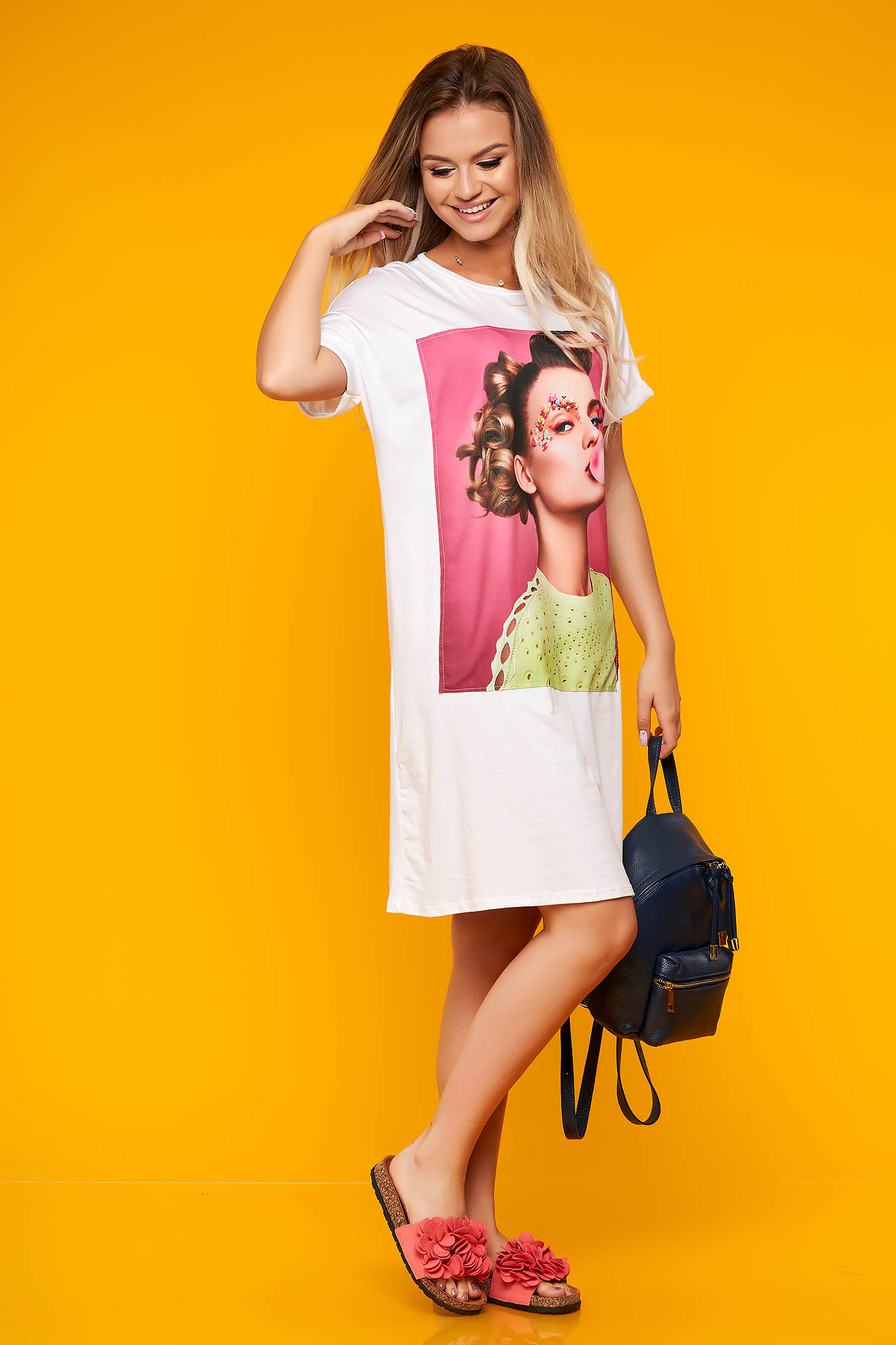 White dress casual short cut cotton with graphic details