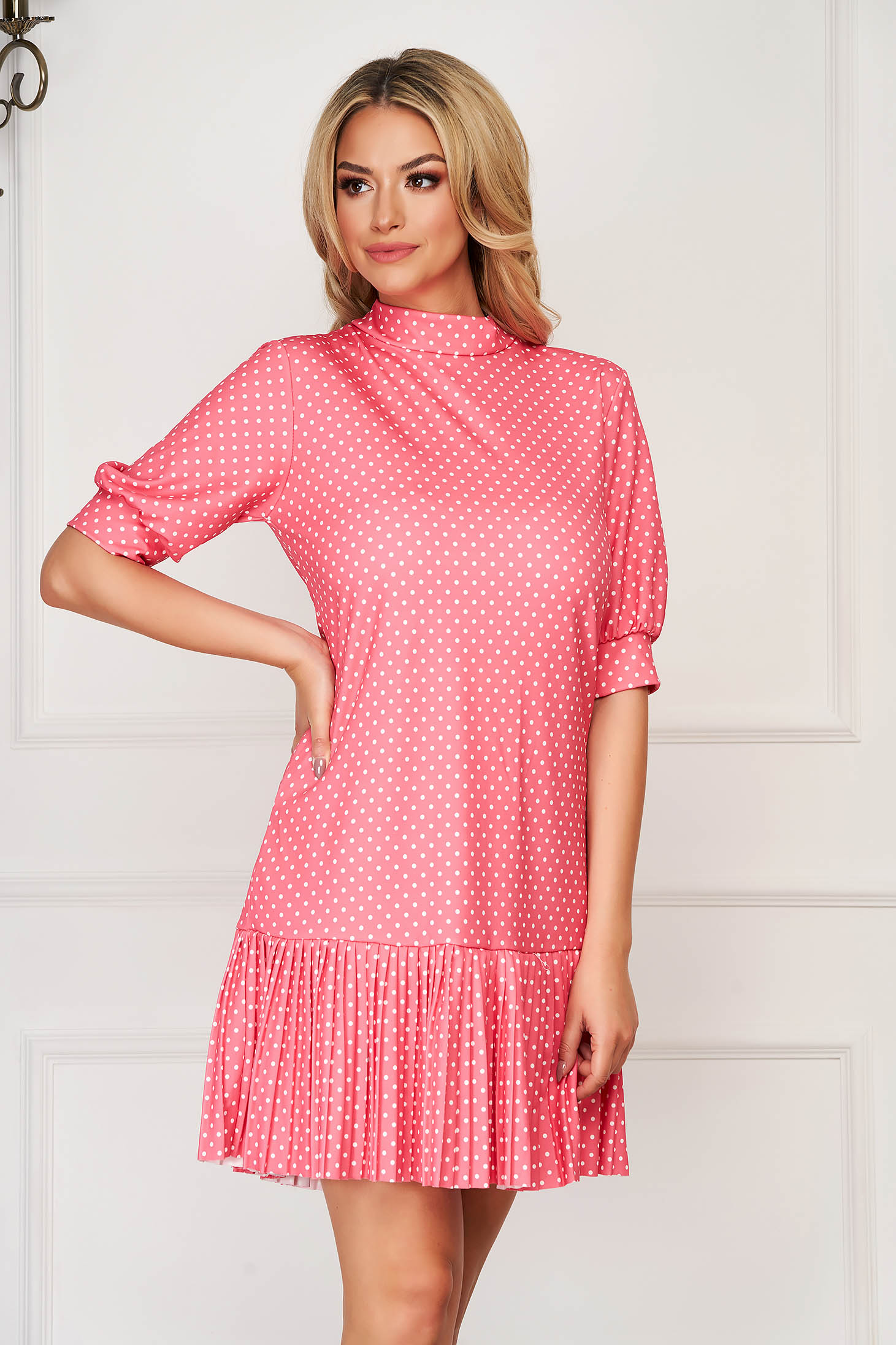 Coral dress short cut daily flared thin fabric dots print