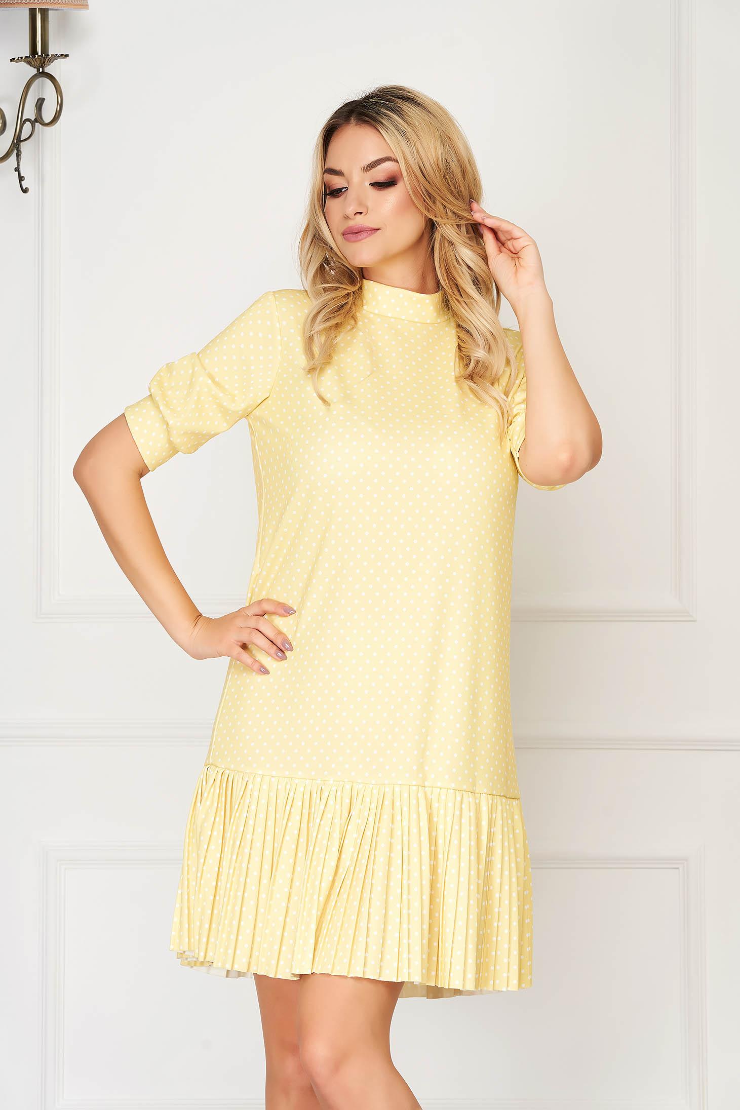Sárga rövid hétköznapi bő szabású ruha pöttyös vékony anyagból