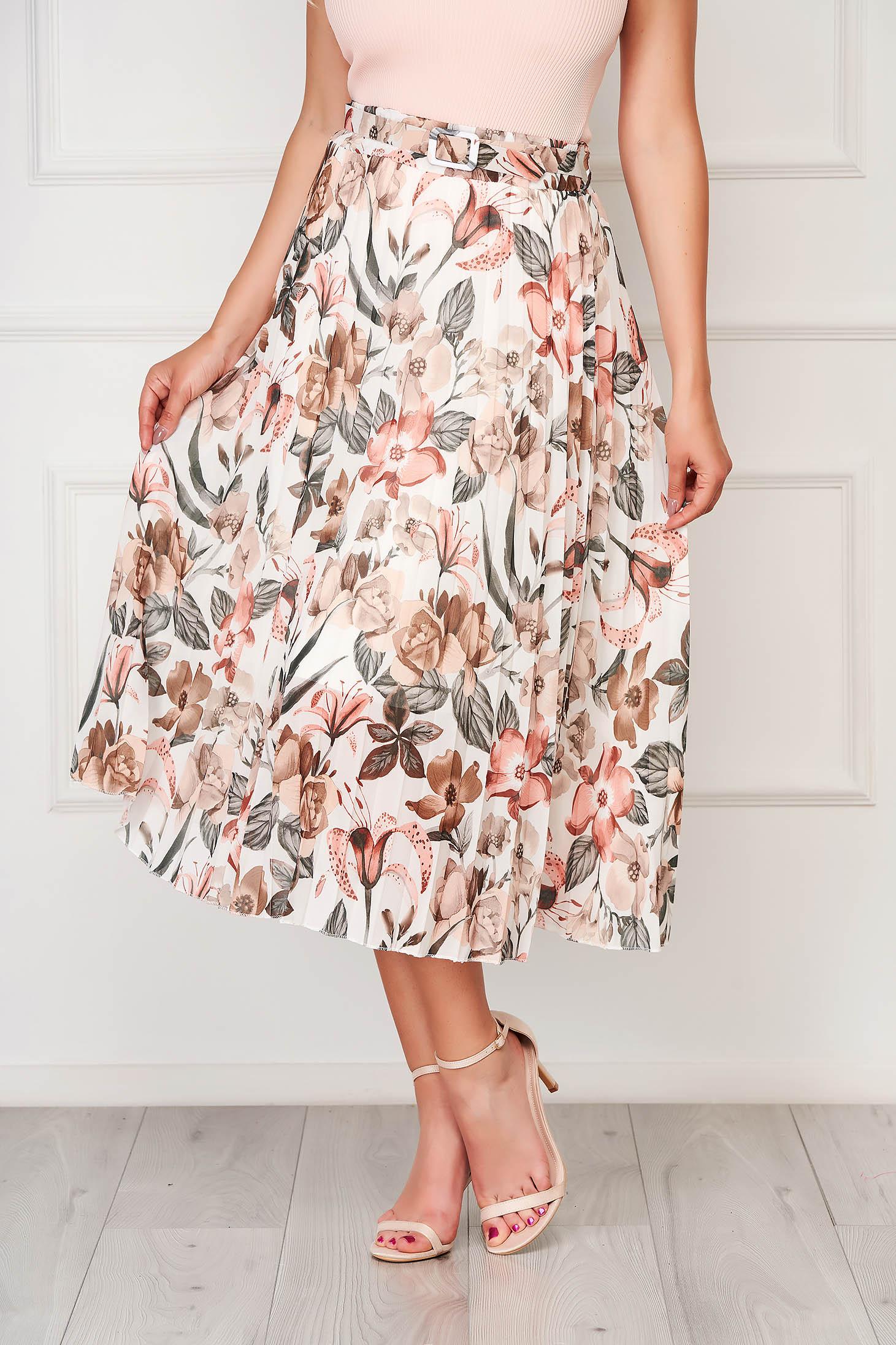 Krémszínű elegáns midi harang rakott, pliszírozott szoknya muszlinból magas derekú
