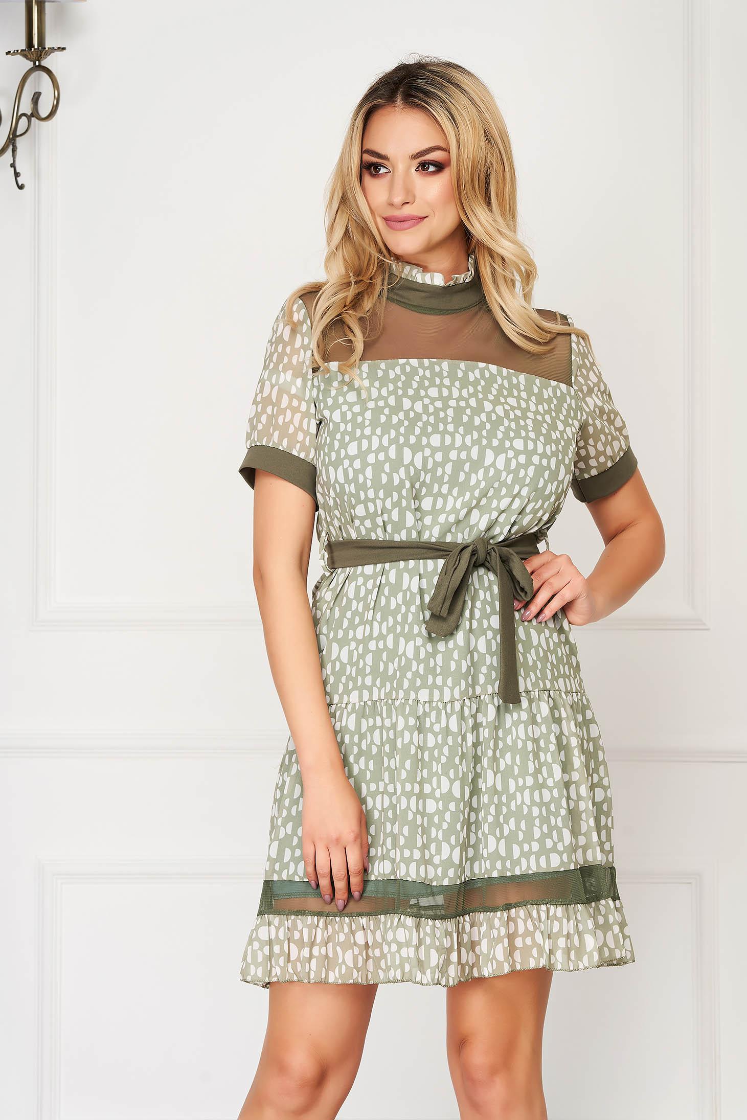 Zöld rövid pöttyös hétköznapi bő szabású ruha fodros gallérral