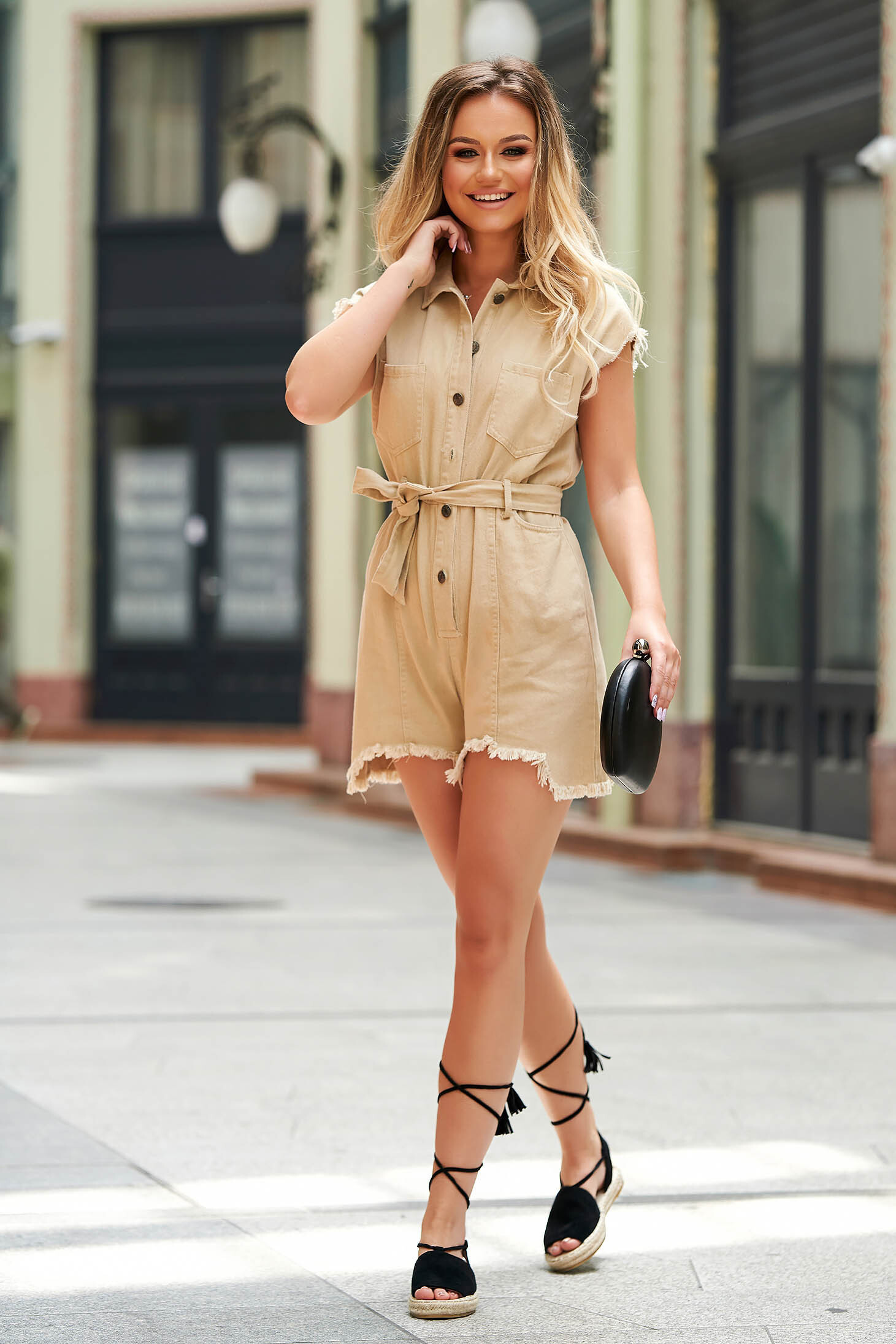 Cream jumpsuit casual flared nonelastic cotton accessorized with tied waistband