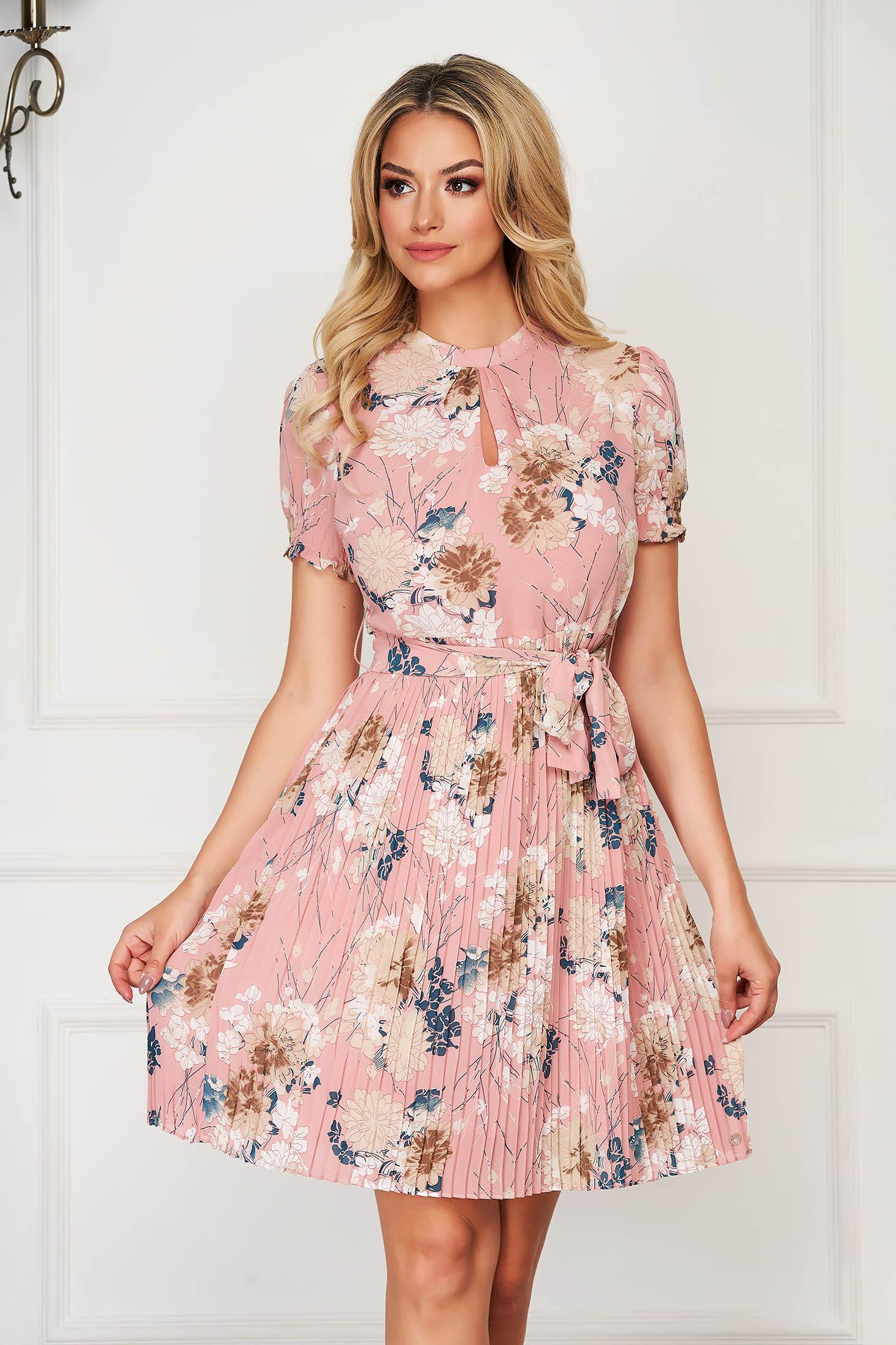 Lightpink dress midi daily cloche folded up thin fabric