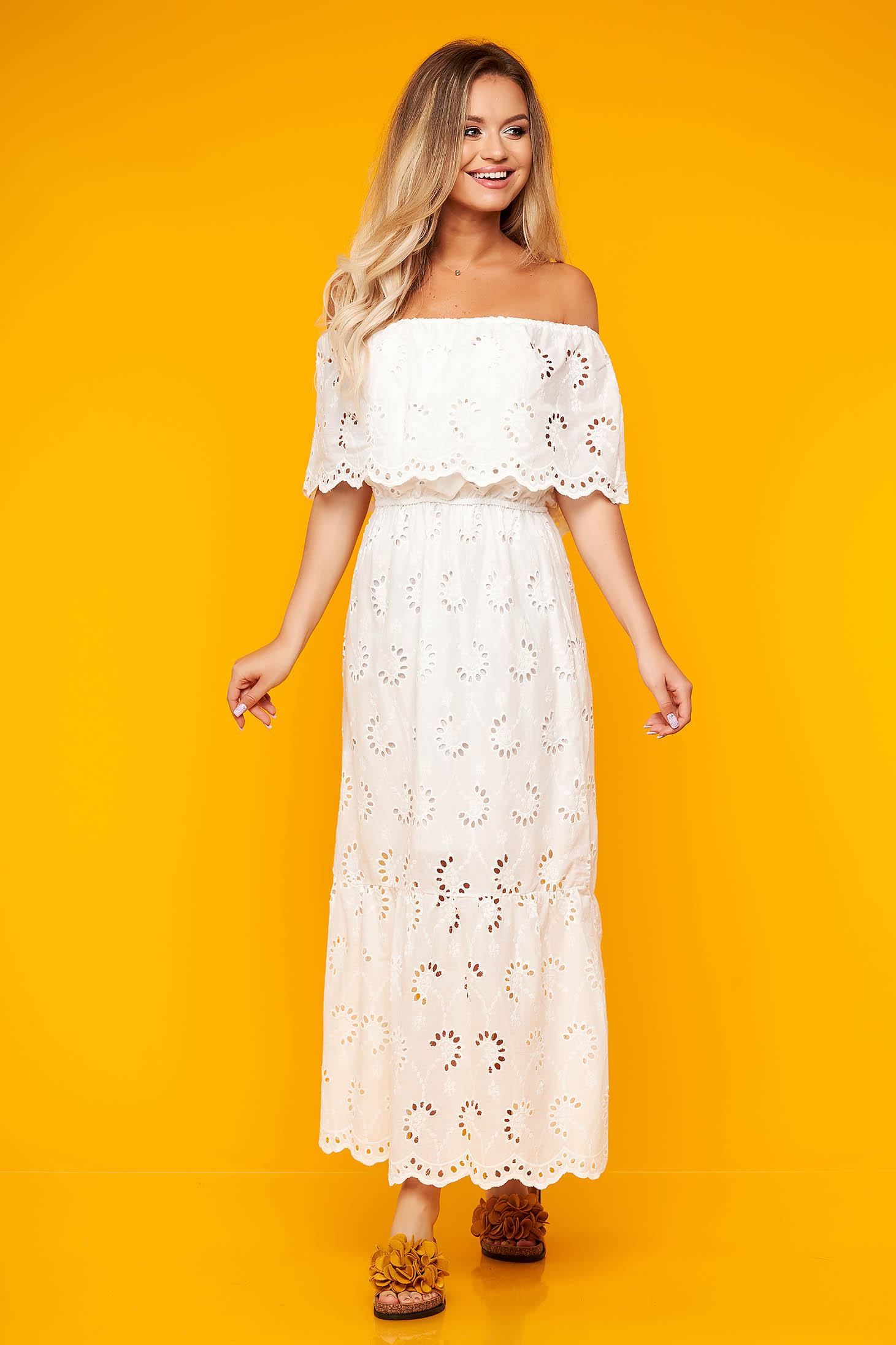 White dress daily long off-shoulder cloche cotton