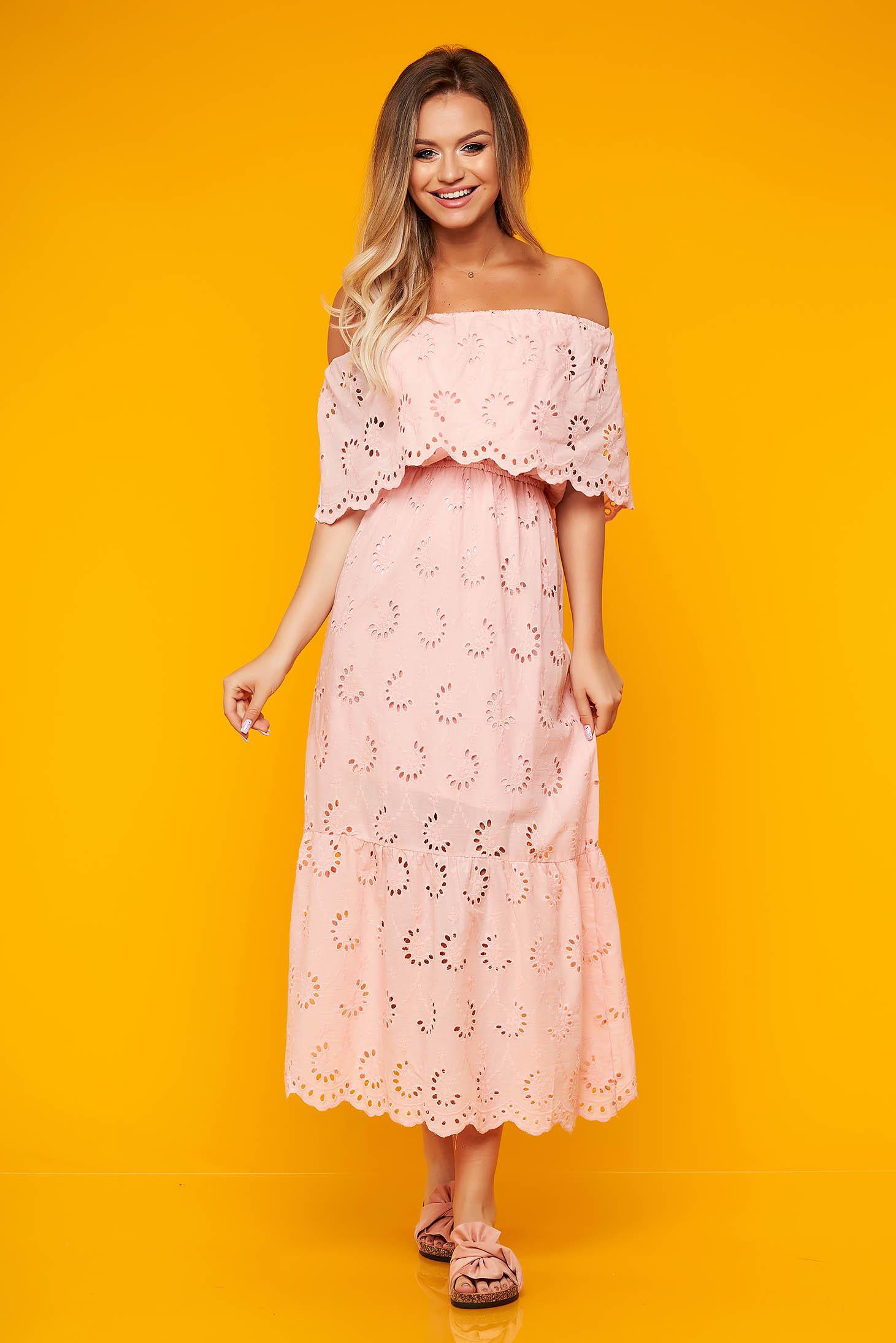 Pink hétköznapi hosszú váll nélküli harang ruha pamutból készült