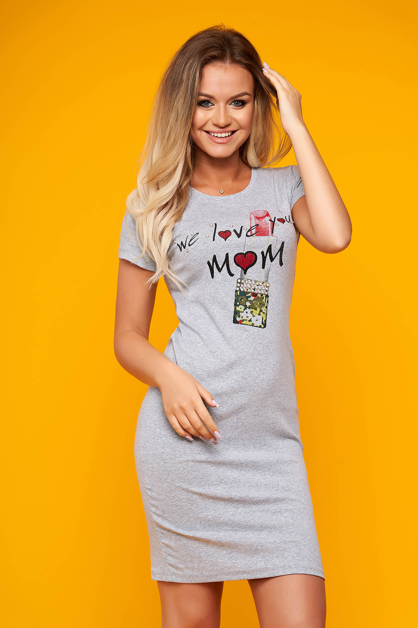 Grey dress casual with tented cut thin fabric short sleeves