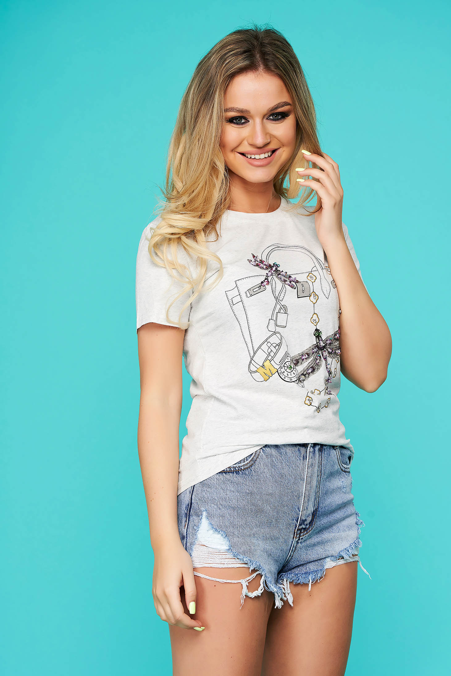 Grey t-shirt casual flared short sleeve with sequin embellished details