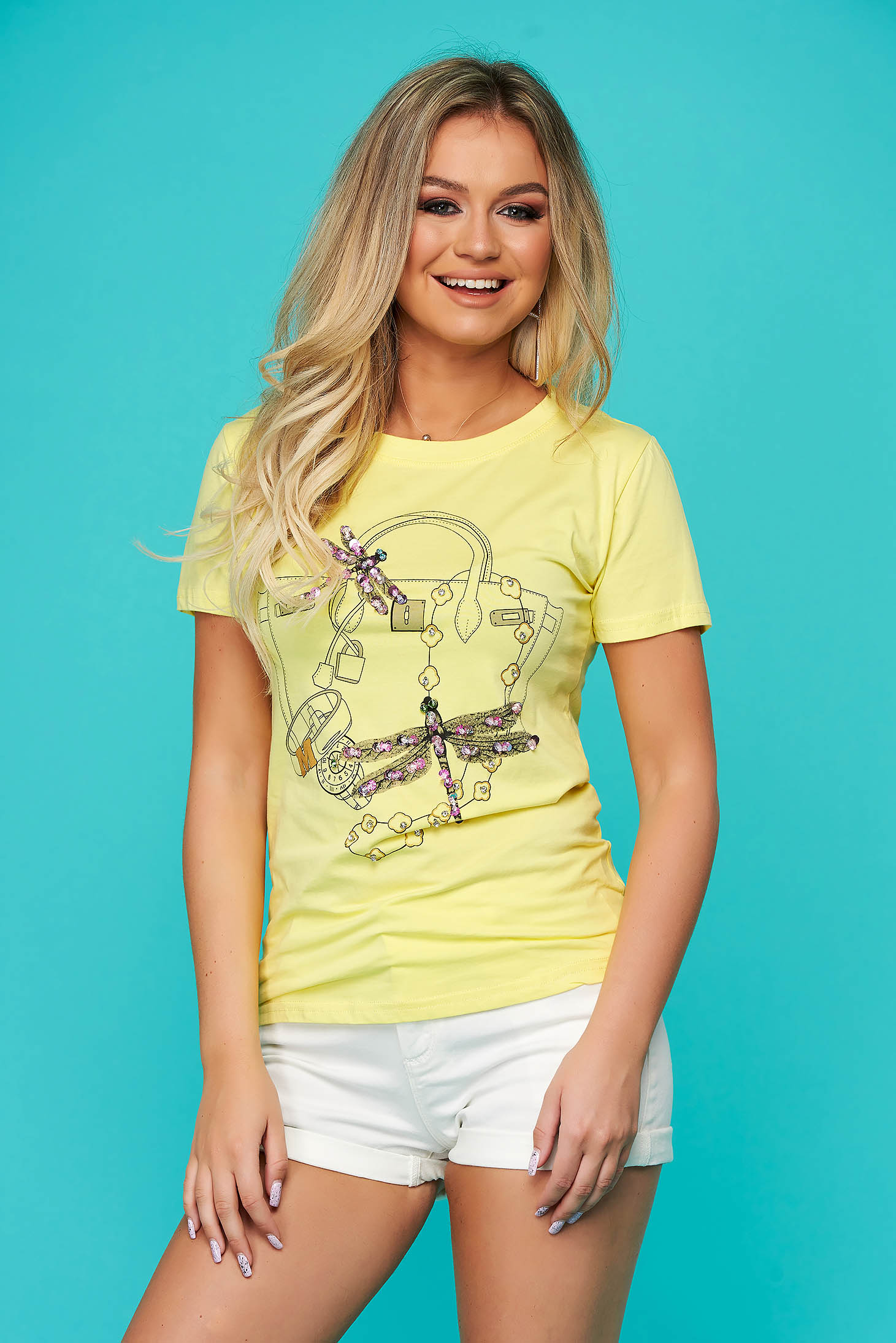Yellow t-shirt casual flared short sleeve with sequin embellished details