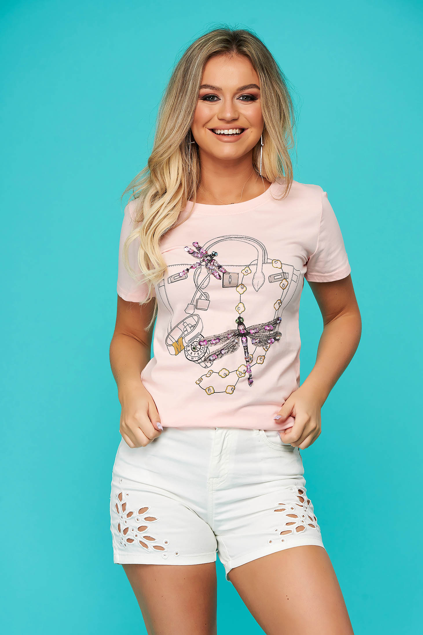 Pink t-shirt casual flared short sleeve with sequin embellished details