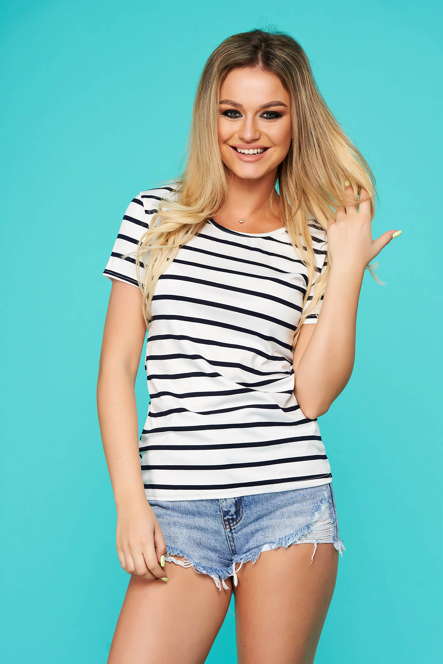 Darkblue t-shirt casual from elastic fabric with stripes