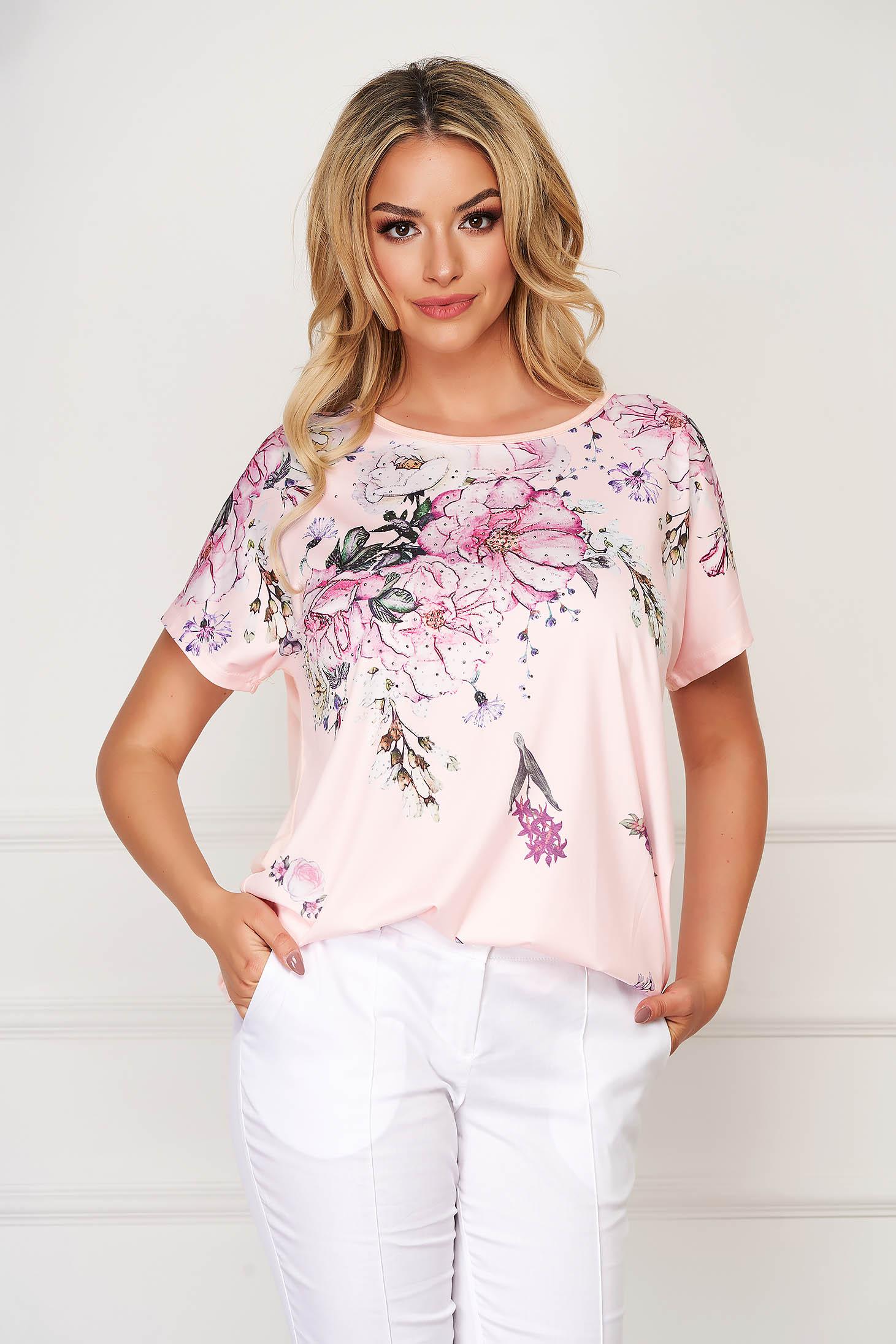 Bluza dama SunShine roz eleganta cu croi larg din material subtire cu imprimeuri florale