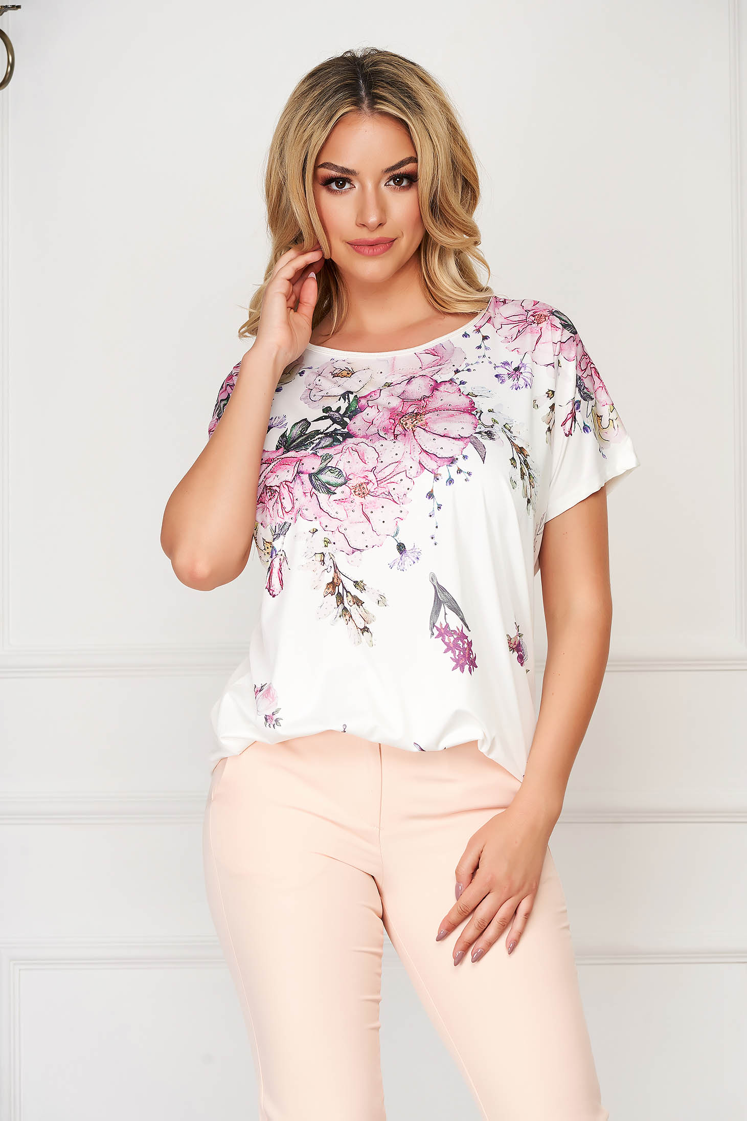 White women`s blouse elegant flared thin fabric with floral prints