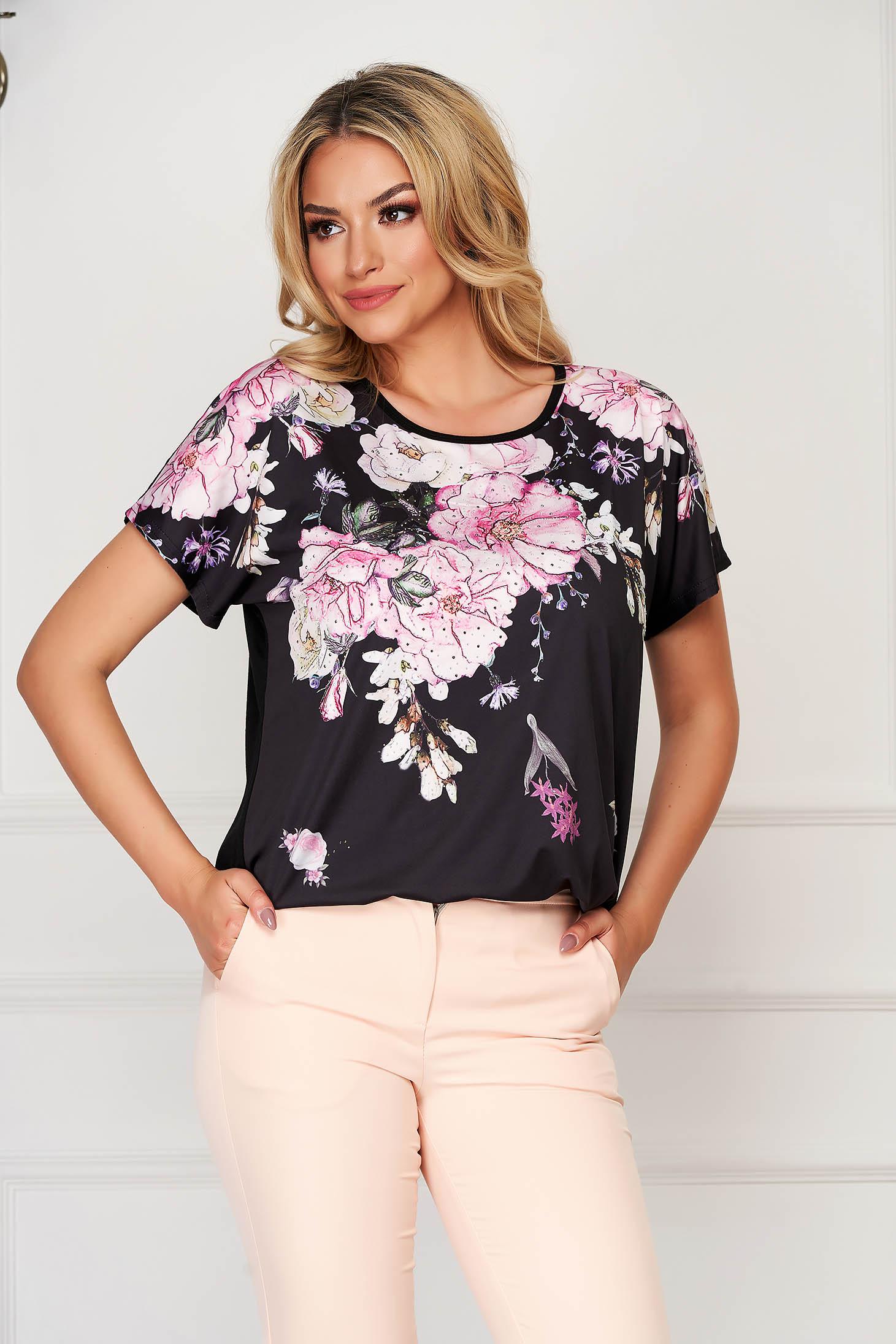 Bluza dama SunShine neagra eleganta cu croi larg din material subtire cu imprimeuri florale