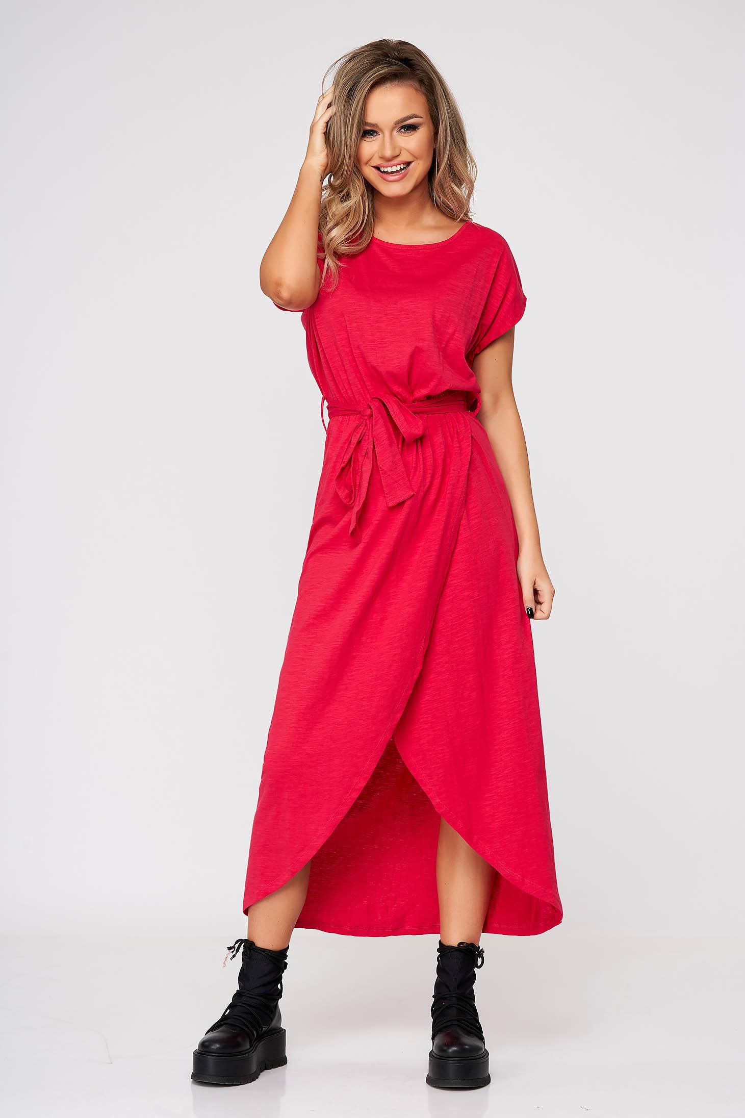 Rochie Top Secret roz de zi din bumbac cu elastic in talie si maneci scurte