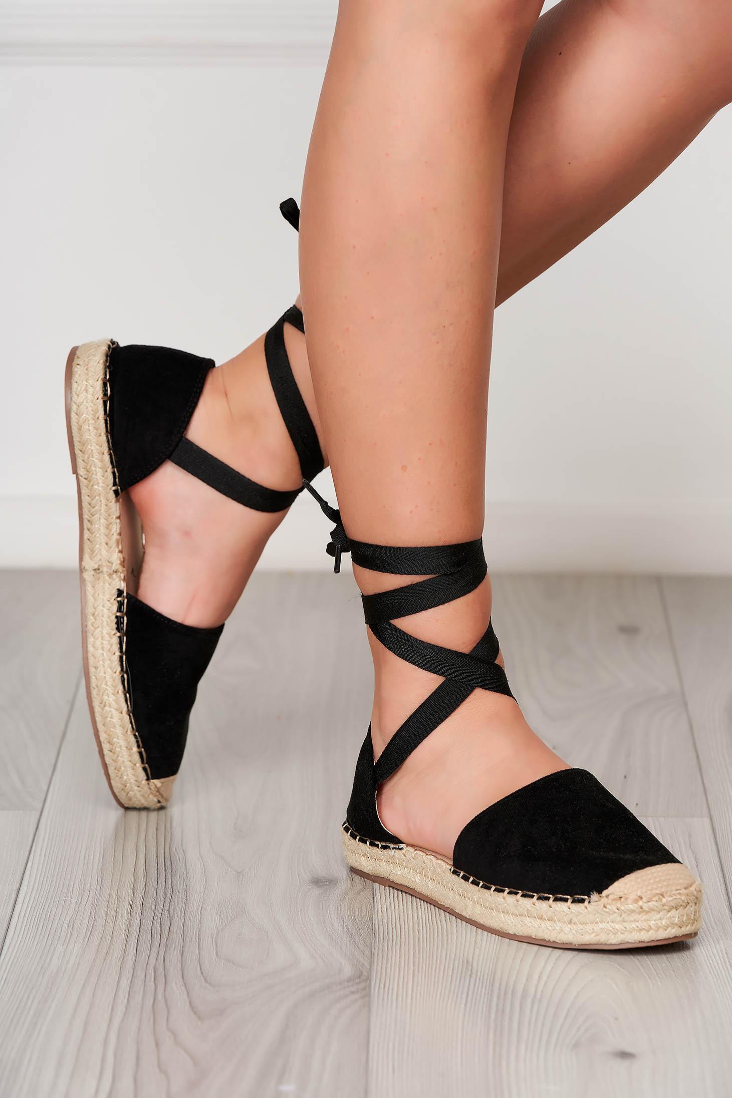 Black espadrilles beach wear low heel faux leather