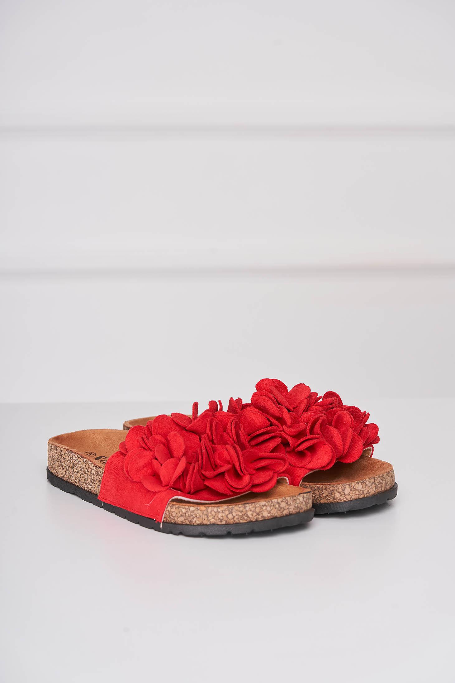 Papuci rosii casual din material catifelat cu talpa joasa