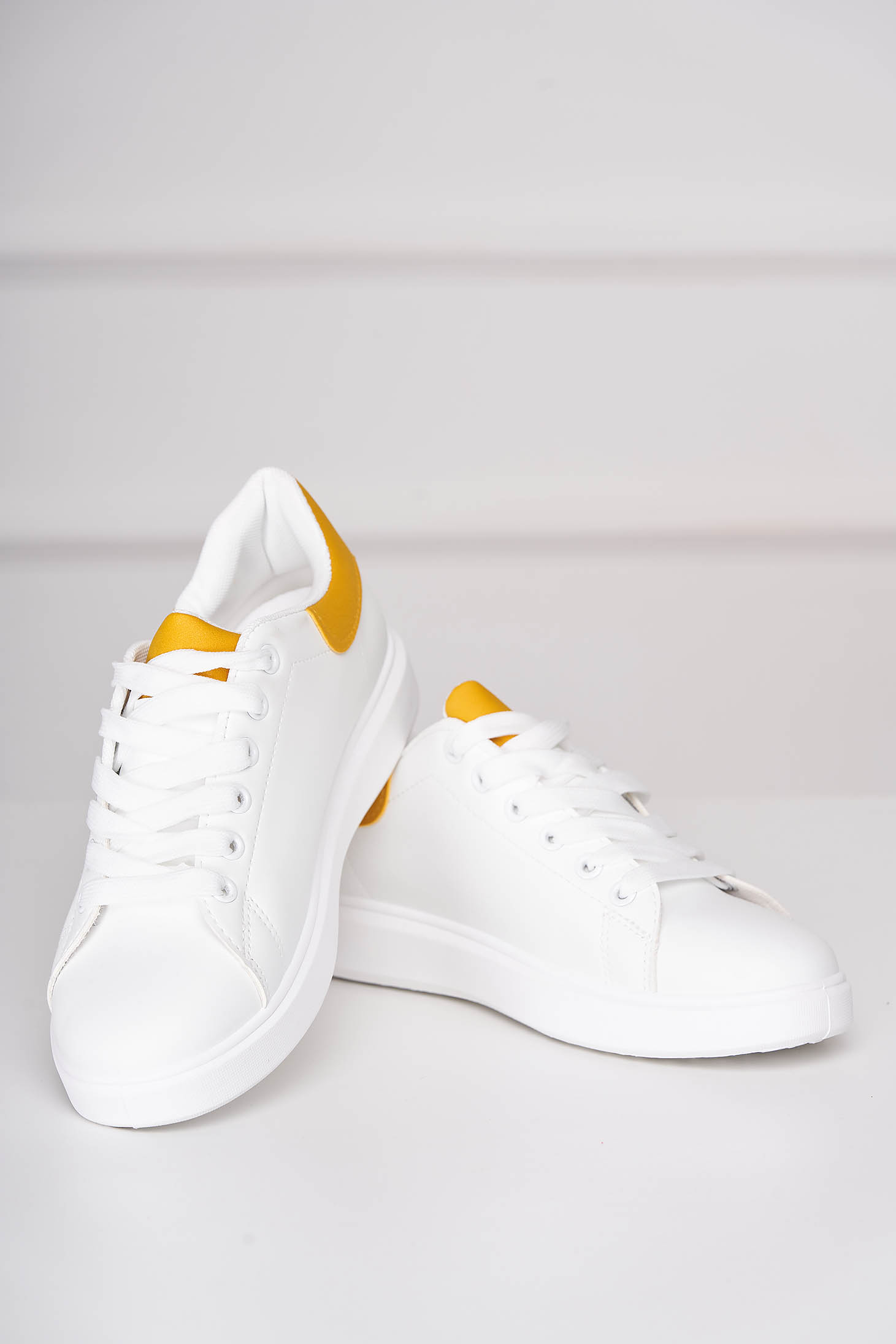 Yellow sneakers casual from ecological leather with lace