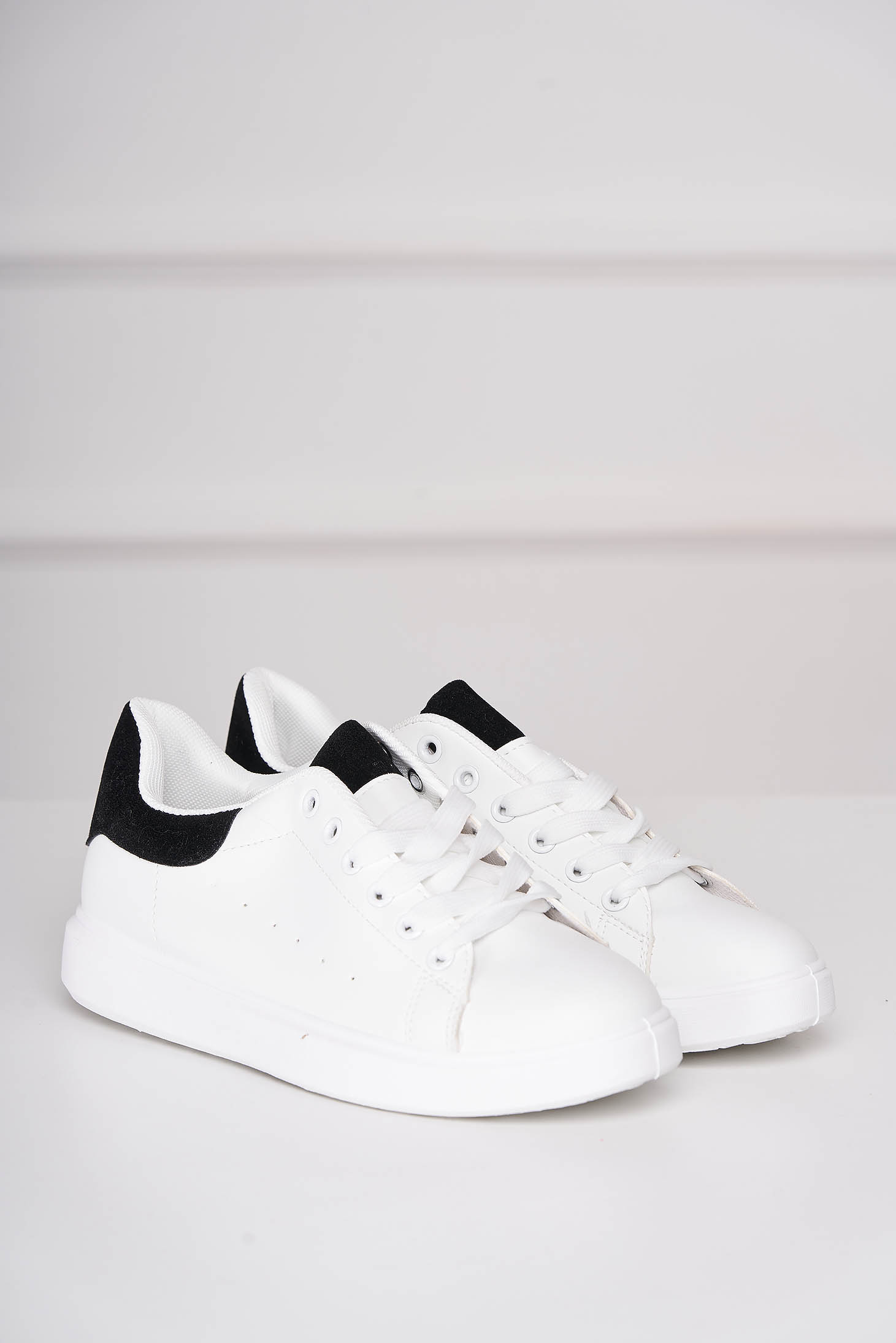 Black sneakers casual from ecological leather with lace