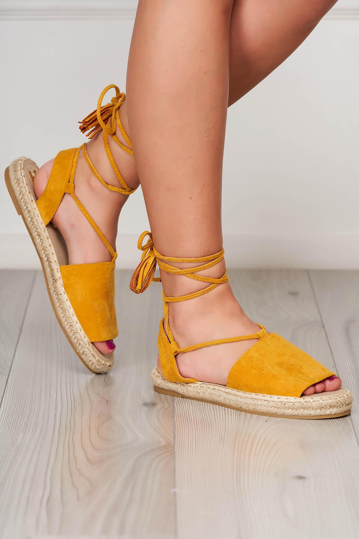 Yellow espadrilles faux leather beach wear ribbon fastening