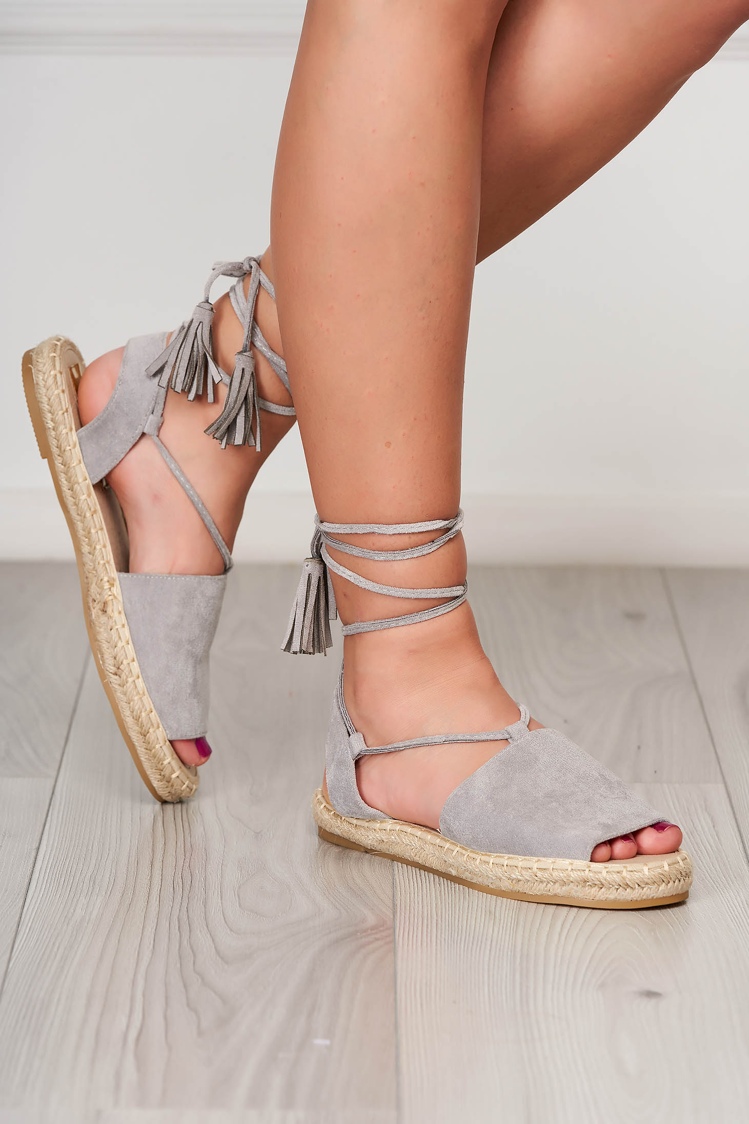 Grey espadrilles faux leather beach wear ribbon fastening