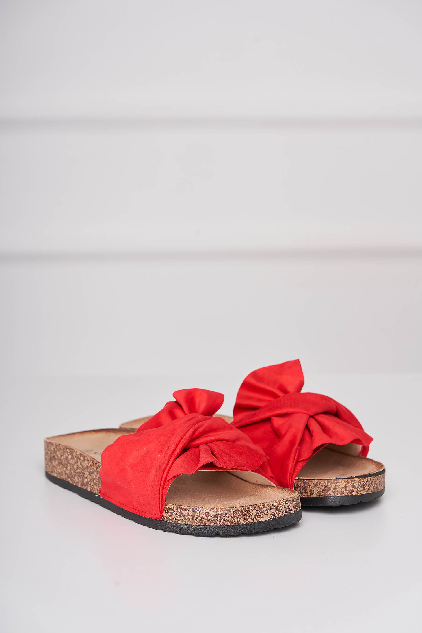Casual red slippers from velvet fabric low heel