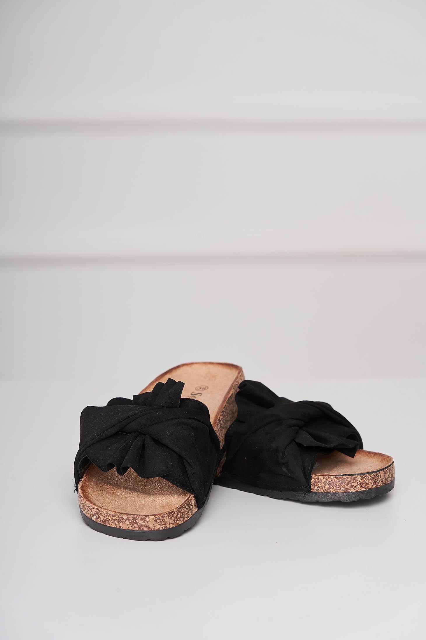 Casual black slippers from velvet fabric low heel