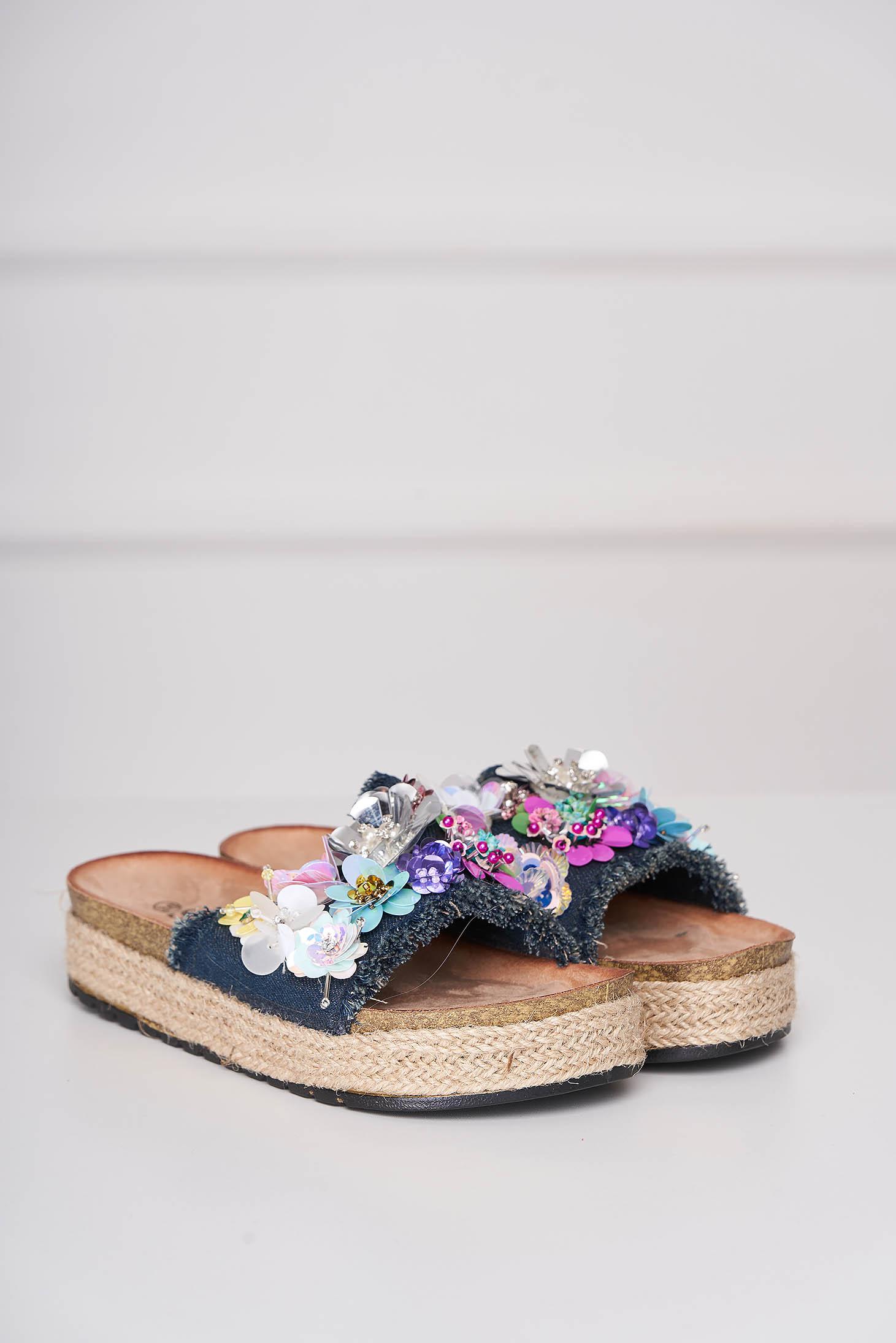 Papuci albastru-inchis casual din denim cu aplicatii din paiete