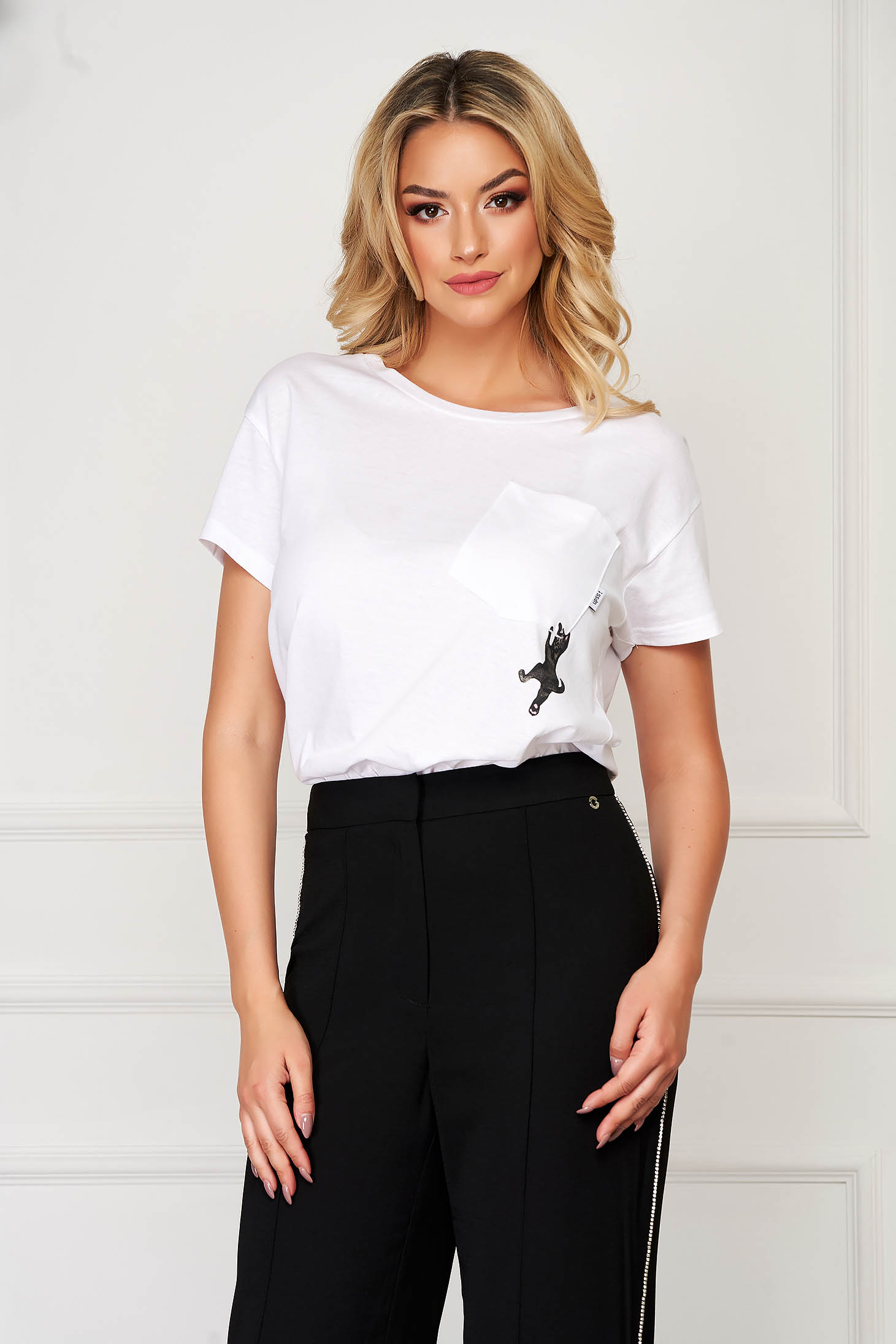 White t-shirt casual flared slightly elastic cotton