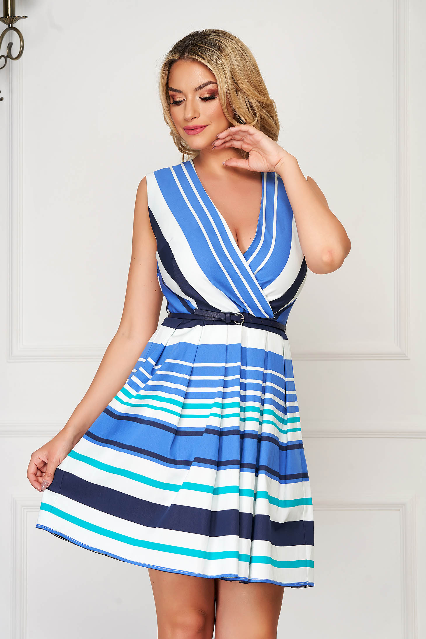 Dress blue daily short cut flaring cut nonelastic fabric with stripes