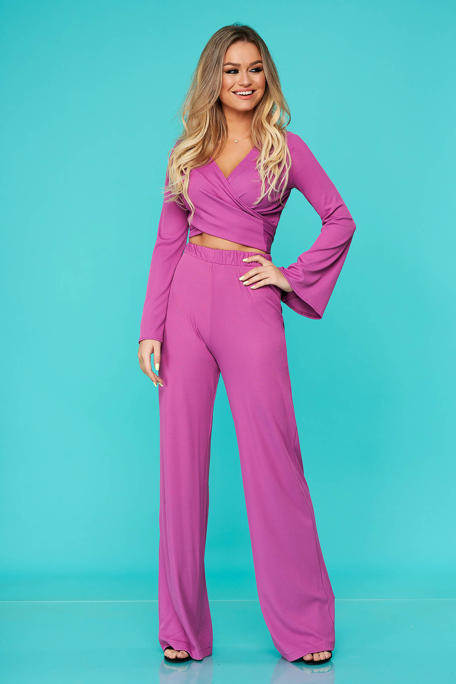 Purple elegant 2 pieces StarShinerS set with trousers lycra long sleeved