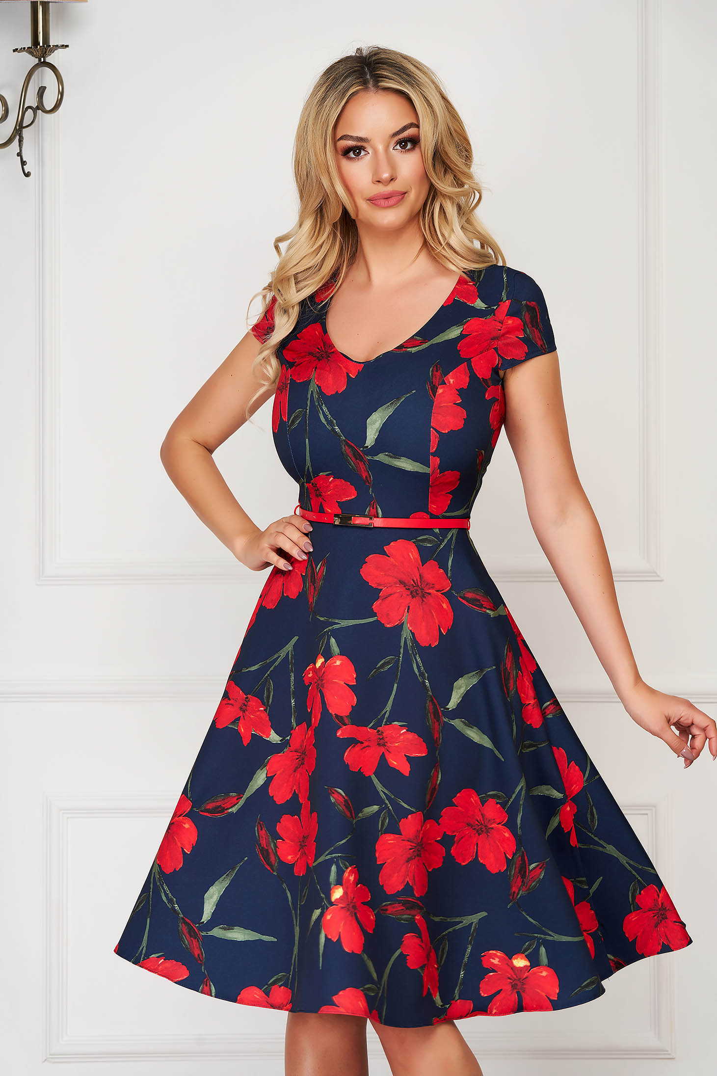 StarShinerS red dress midi daily cloche cloth with pockets