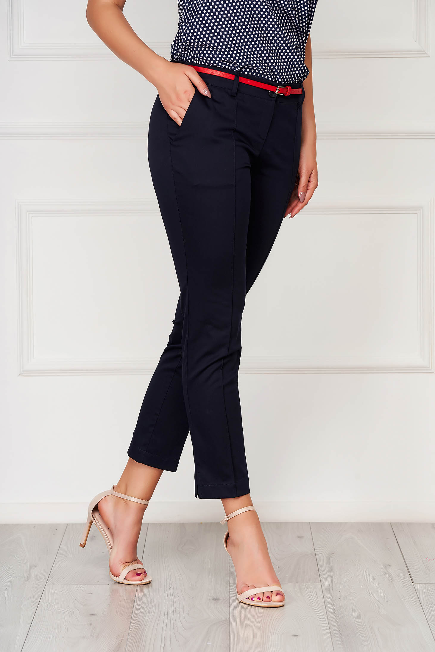 Darkblue trousers office cotton conical with pockets