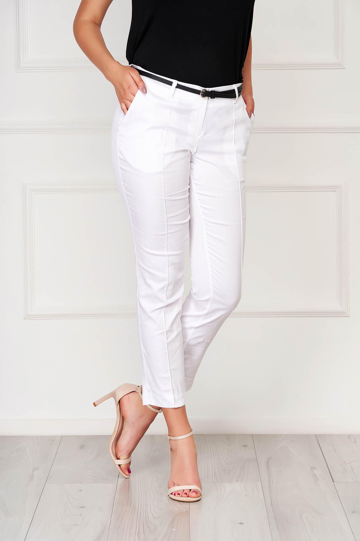 Pantaloni albi office conici din bumbac cu buzunare