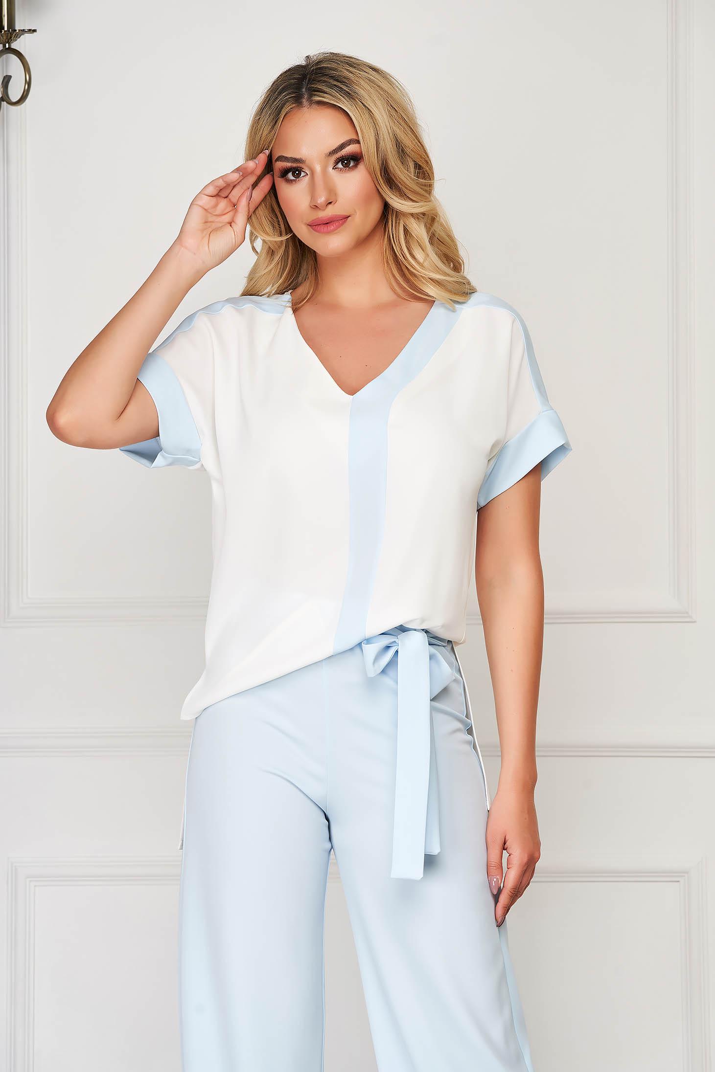 StarShinerS white women`s blouse elegant flared with v-neckline short sleeves